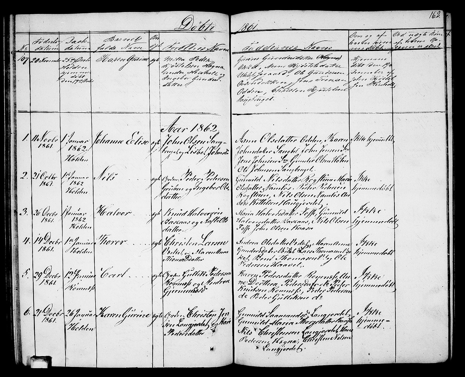 SAKO, Holla kirkebøker, G/Ga/L0003: Klokkerbok nr. I 3, 1849-1866, s. 162