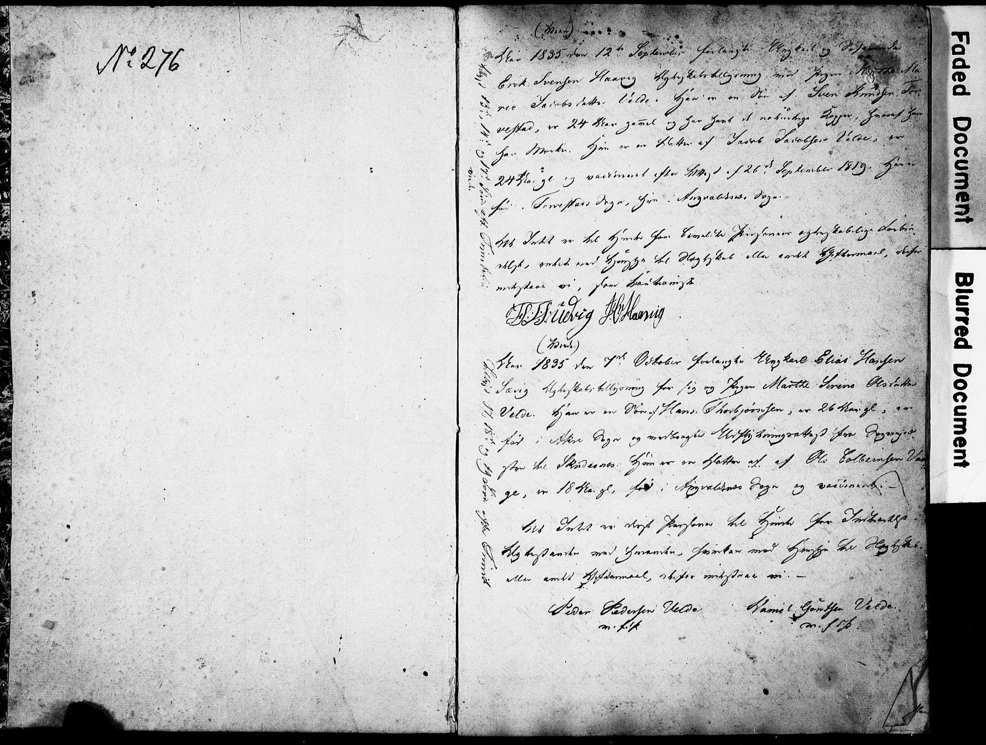 SAST, Avaldsnes sokneprestkontor, I/Ie/L0001: Lysningsprotokoll nr. IX 1, 1835-1843