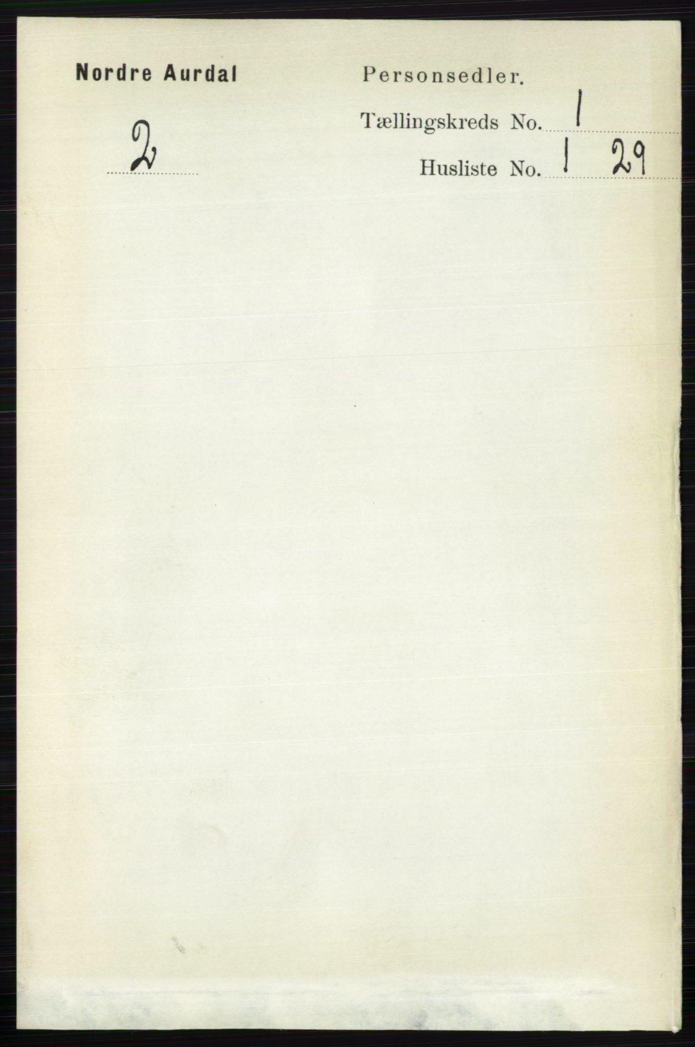RA, Folketelling 1891 for 0542 Nord-Aurdal herred, 1891, s. 119