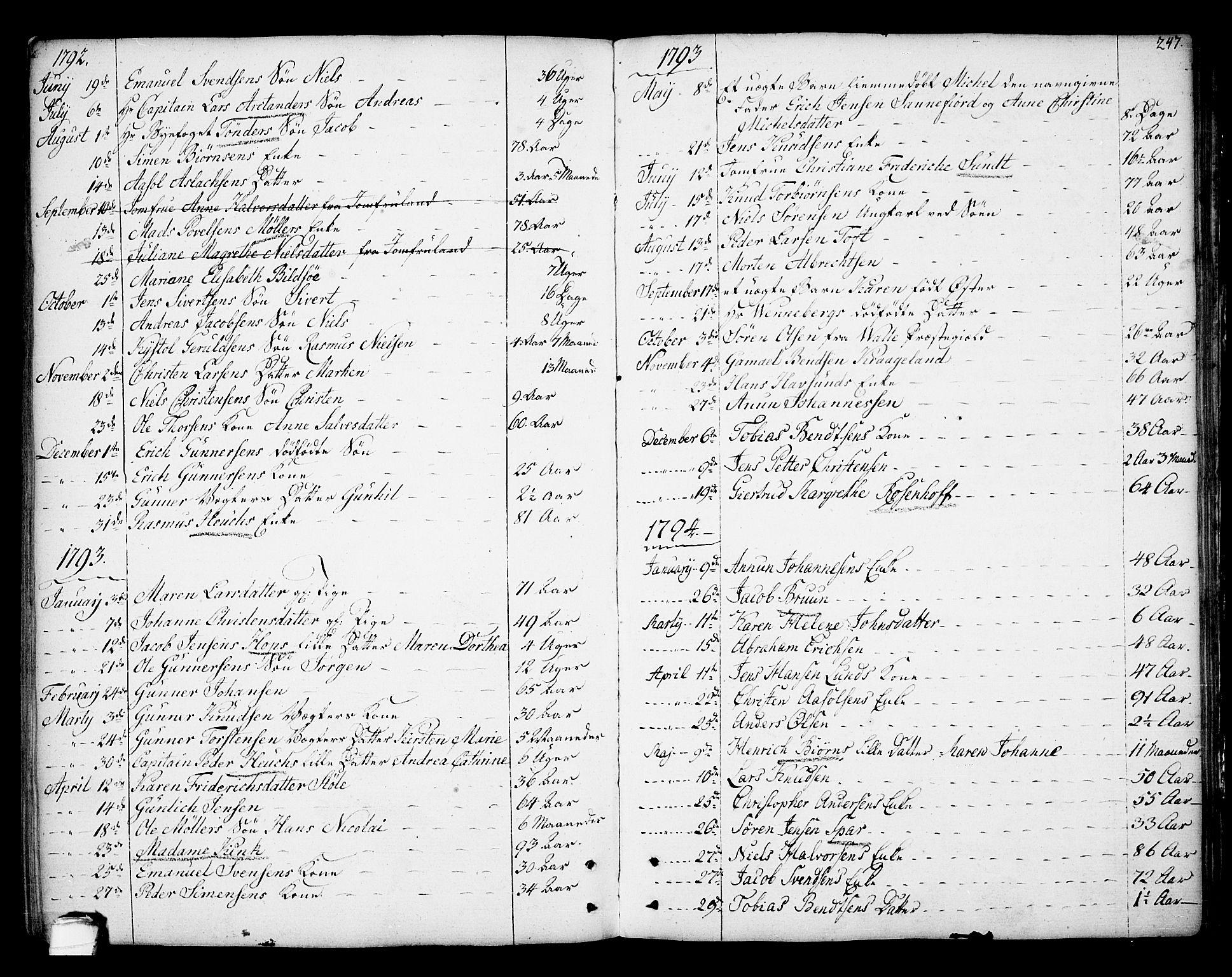 SAKO, Kragerø kirkebøker, F/Fa/L0002: Ministerialbok nr. 2, 1767-1802, s. 247