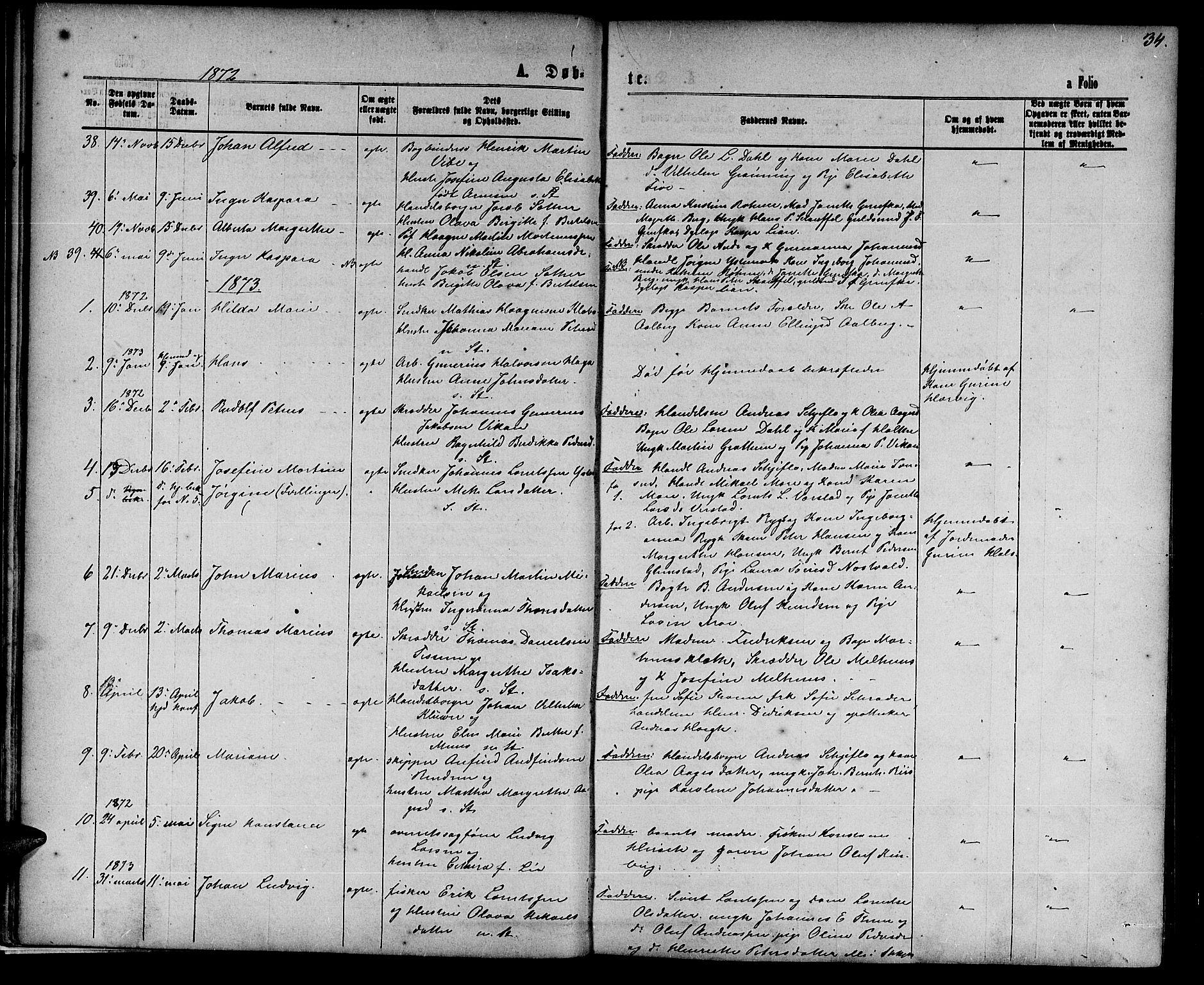 SAT, Ministerialprotokoller, klokkerbøker og fødselsregistre - Nord-Trøndelag, 739/L0373: Klokkerbok nr. 739C01, 1865-1882, s. 34