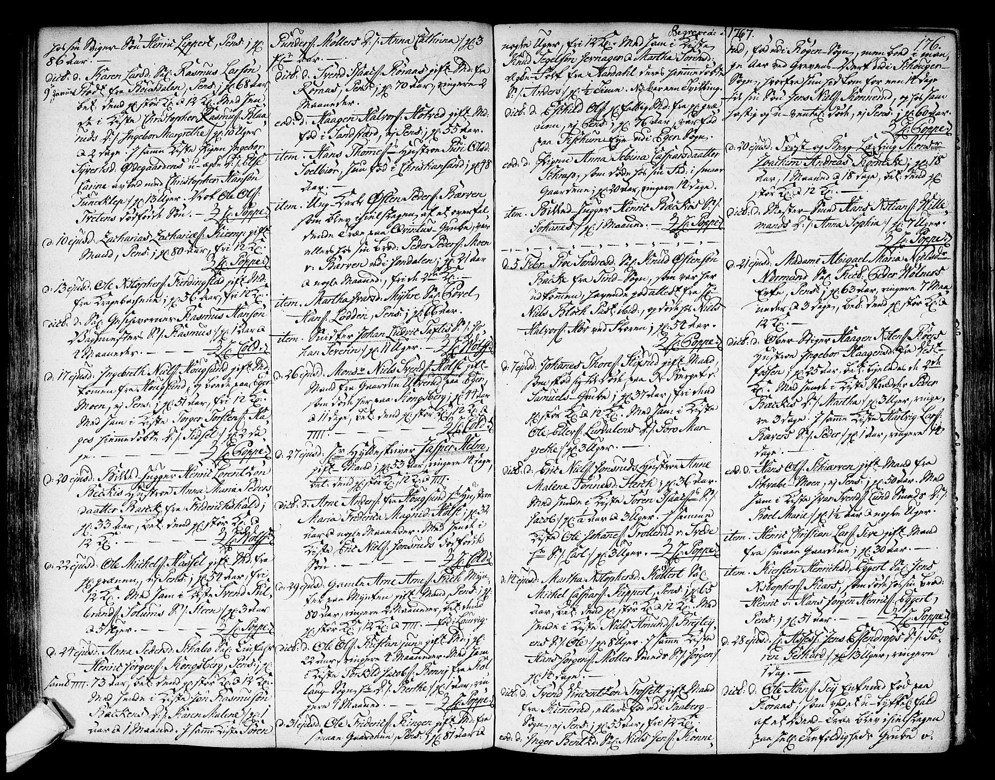 SAKO, Kongsberg kirkebøker, F/Fa/L0004: Ministerialbok nr. I 4, 1756-1768, s. 176