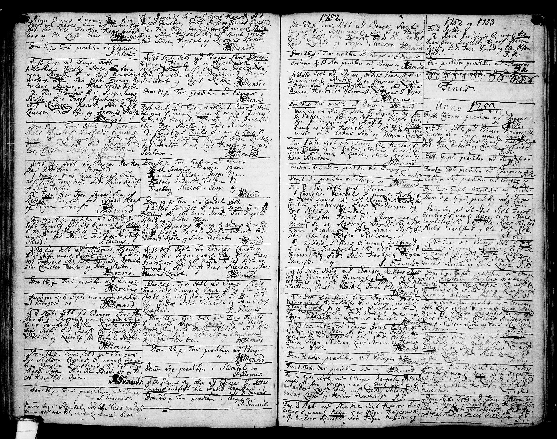 SAKO, Eidanger kirkebøker, F/Fa/L0004: Ministerialbok nr. 4, 1733-1759, s. 158-159