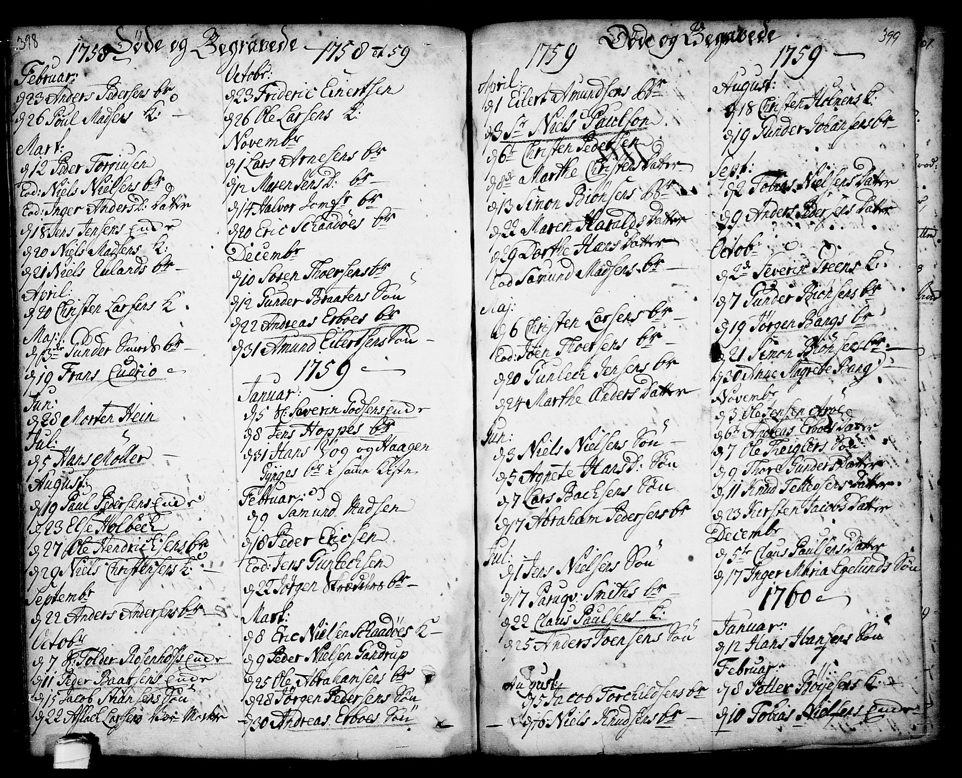 SAKO, Kragerø kirkebøker, F/Fa/L0001: Ministerialbok nr. 1, 1702-1766, s. 398-399