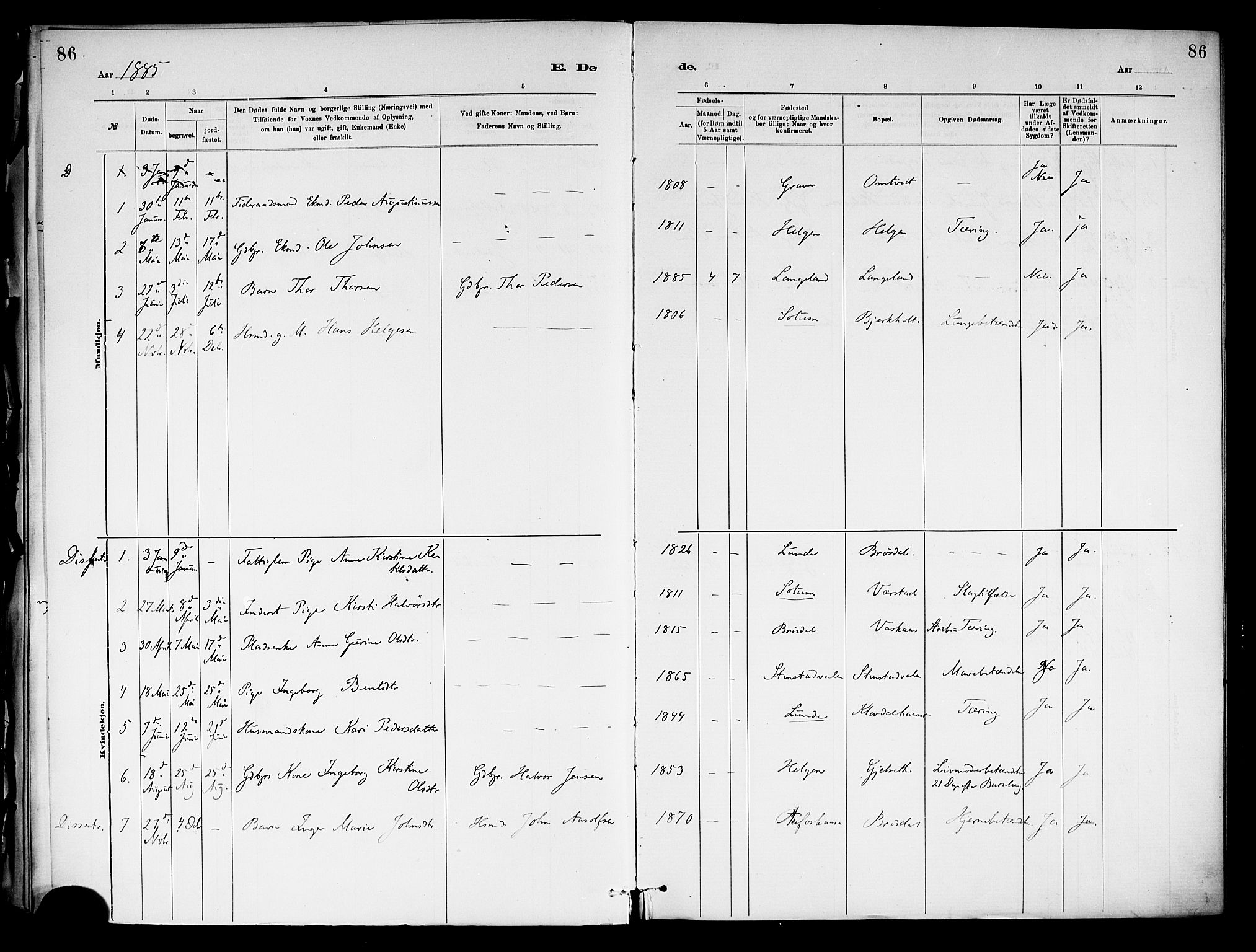 SAKO, Holla kirkebøker, F/Fa/L0009: Ministerialbok nr. 9, 1881-1897, s. 86