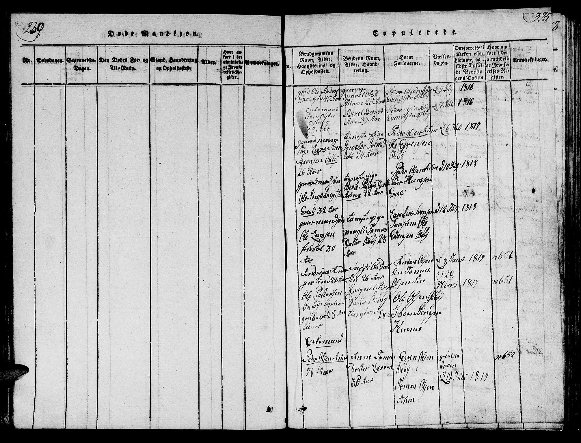 SAT, Ministerialprotokoller, klokkerbøker og fødselsregistre - Sør-Trøndelag, 698/L1164: Klokkerbok nr. 698C01, 1816-1861, s. 239-375