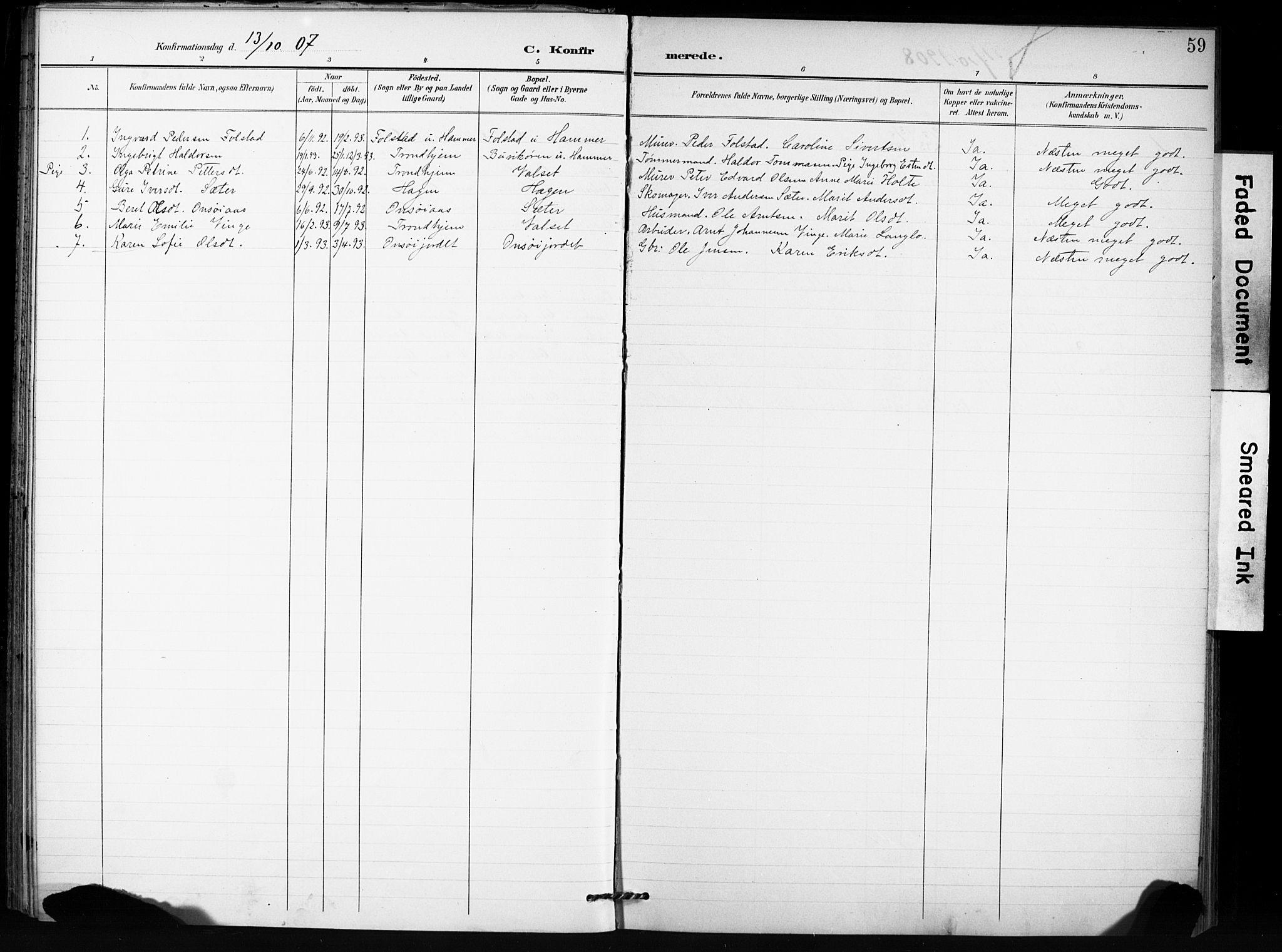SAT, Ministerialprotokoller, klokkerbøker og fødselsregistre - Sør-Trøndelag, 666/L0787: Ministerialbok nr. 666A05, 1895-1908, s. 59