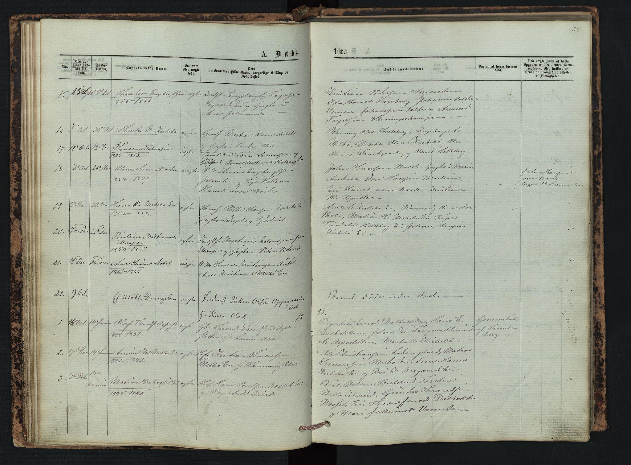 SAH, Vestre Gausdal prestekontor, Klokkerbok nr. 2, 1874-1897, s. 24