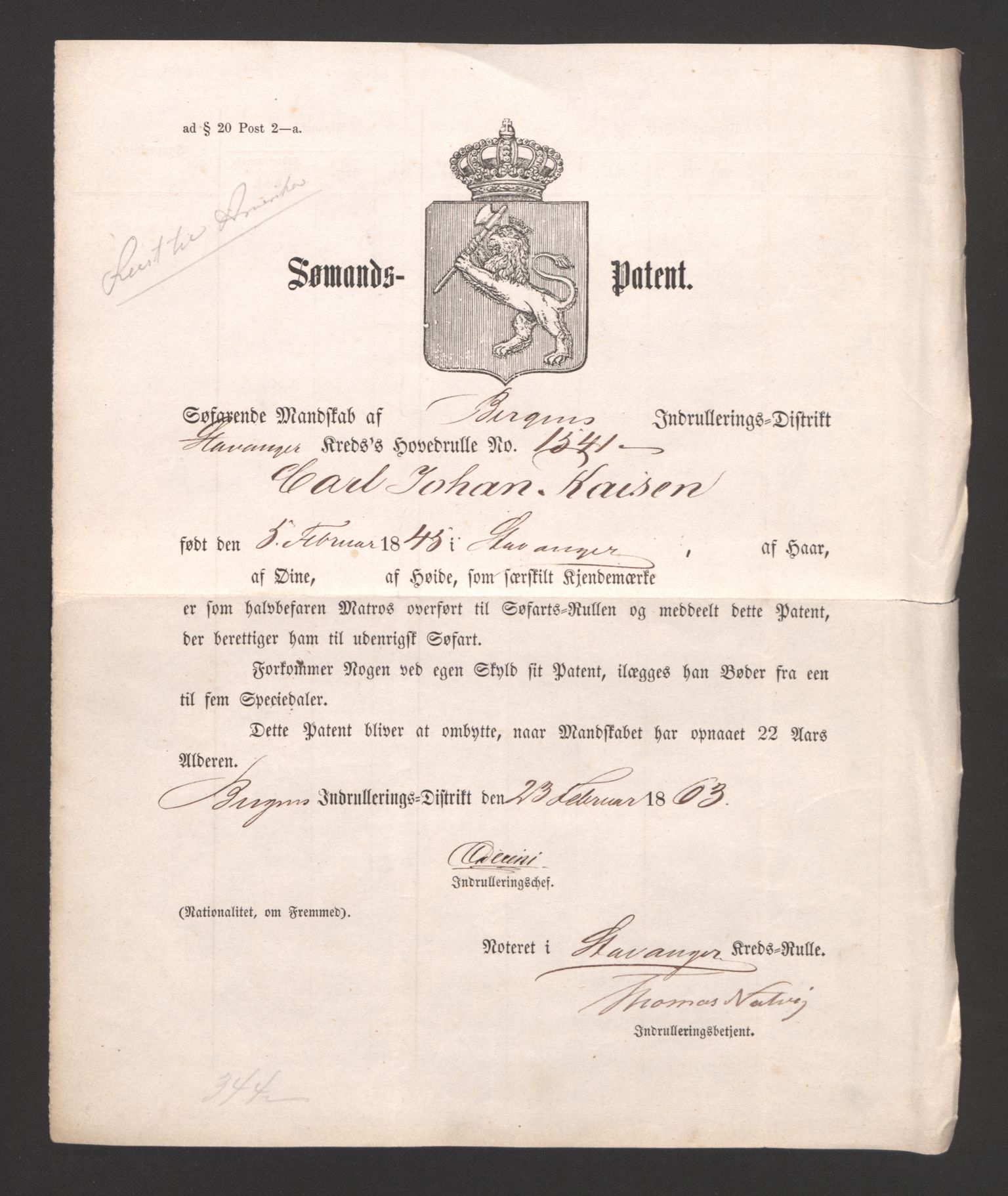 SAST, Stavanger sjømannskontor, F/Fb/Fbb/L0003: Sjøfartshovedrulle, patentnr. 1451-2270, 1863, s. 432