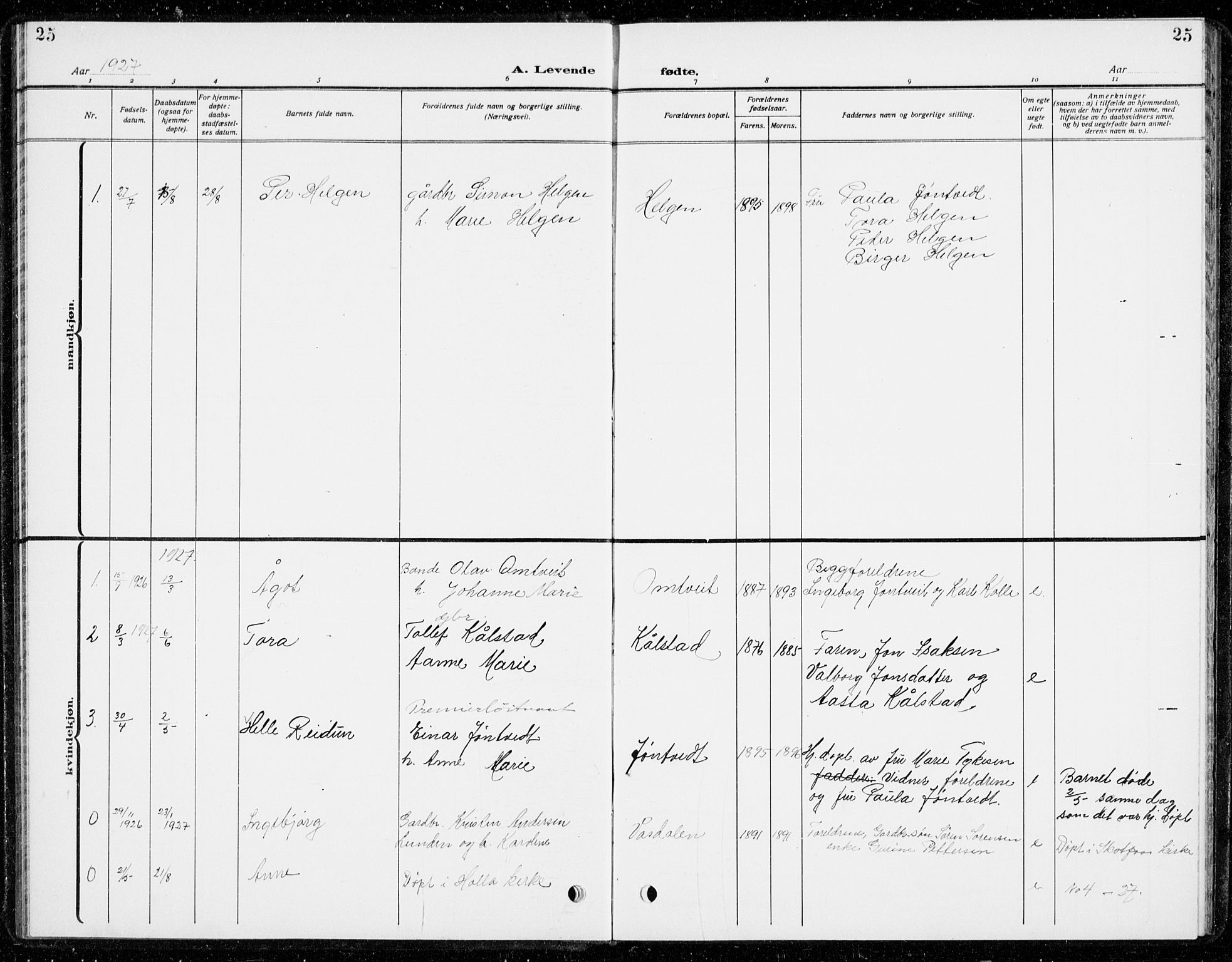 SAKO, Holla kirkebøker, G/Gb/L0003: Klokkerbok nr. II 3, 1914-1941, s. 25