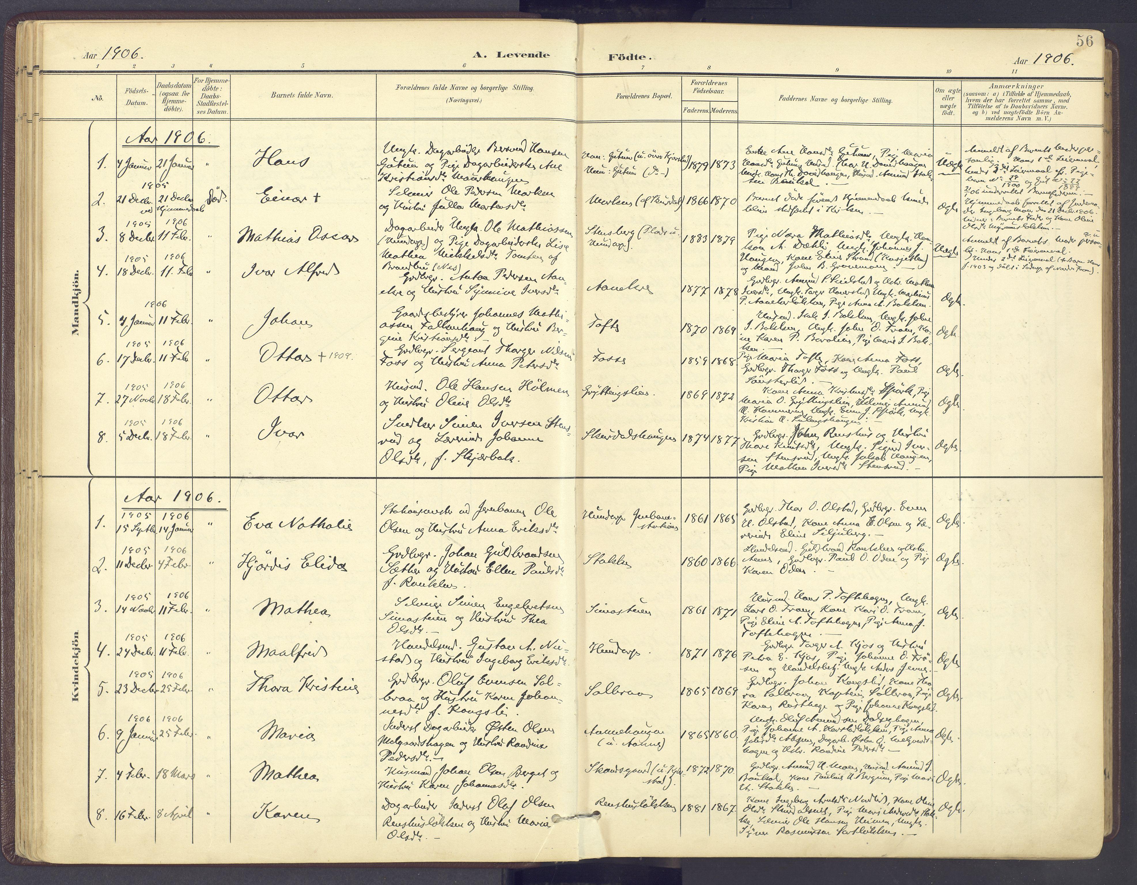 SAH, Sør-Fron prestekontor, H/Ha/Haa/L0004: Ministerialbok nr. 4, 1898-1919, s. 56