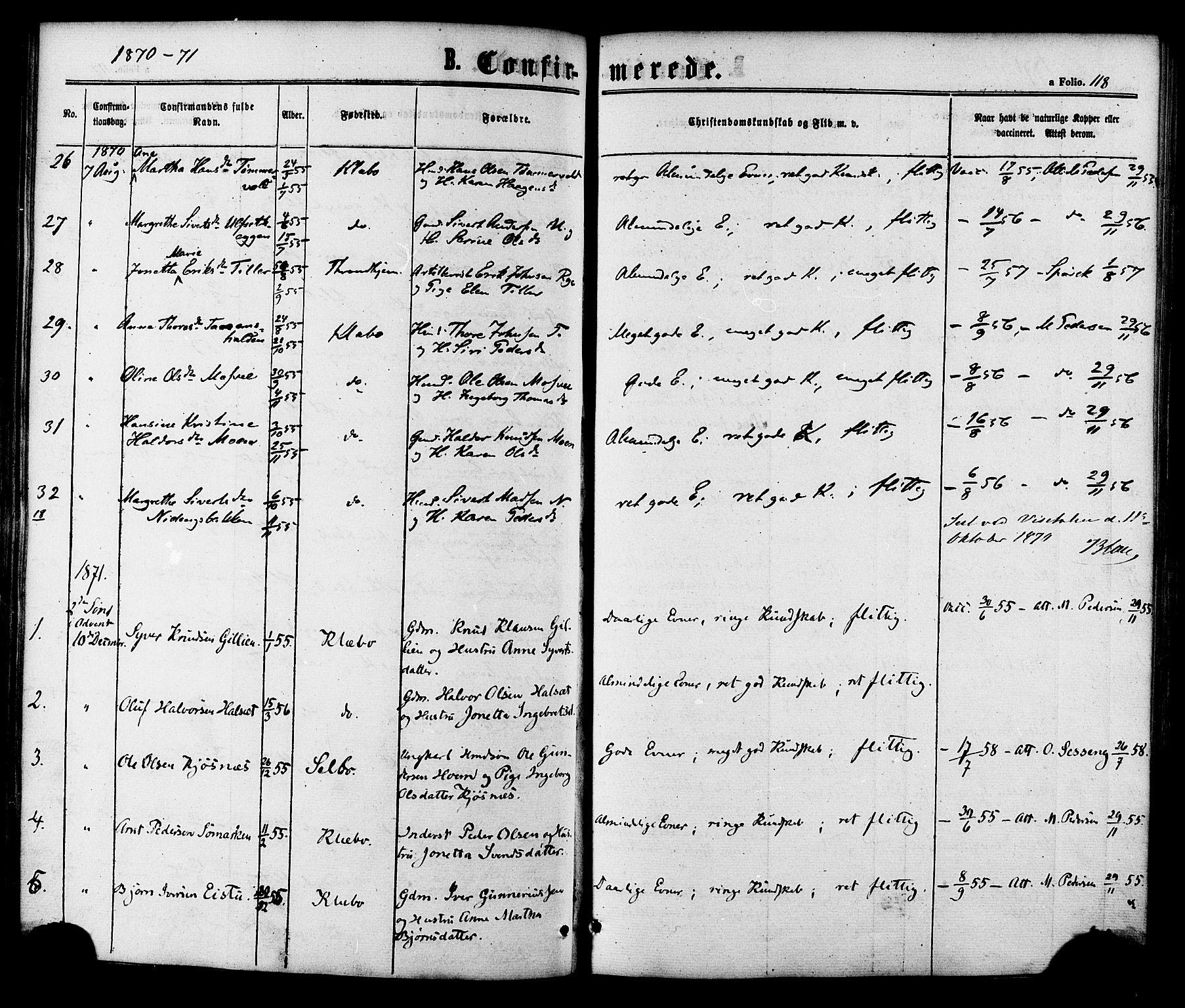 SAT, Ministerialprotokoller, klokkerbøker og fødselsregistre - Sør-Trøndelag, 618/L0442: Ministerialbok nr. 618A06 /1, 1863-1879, s. 118