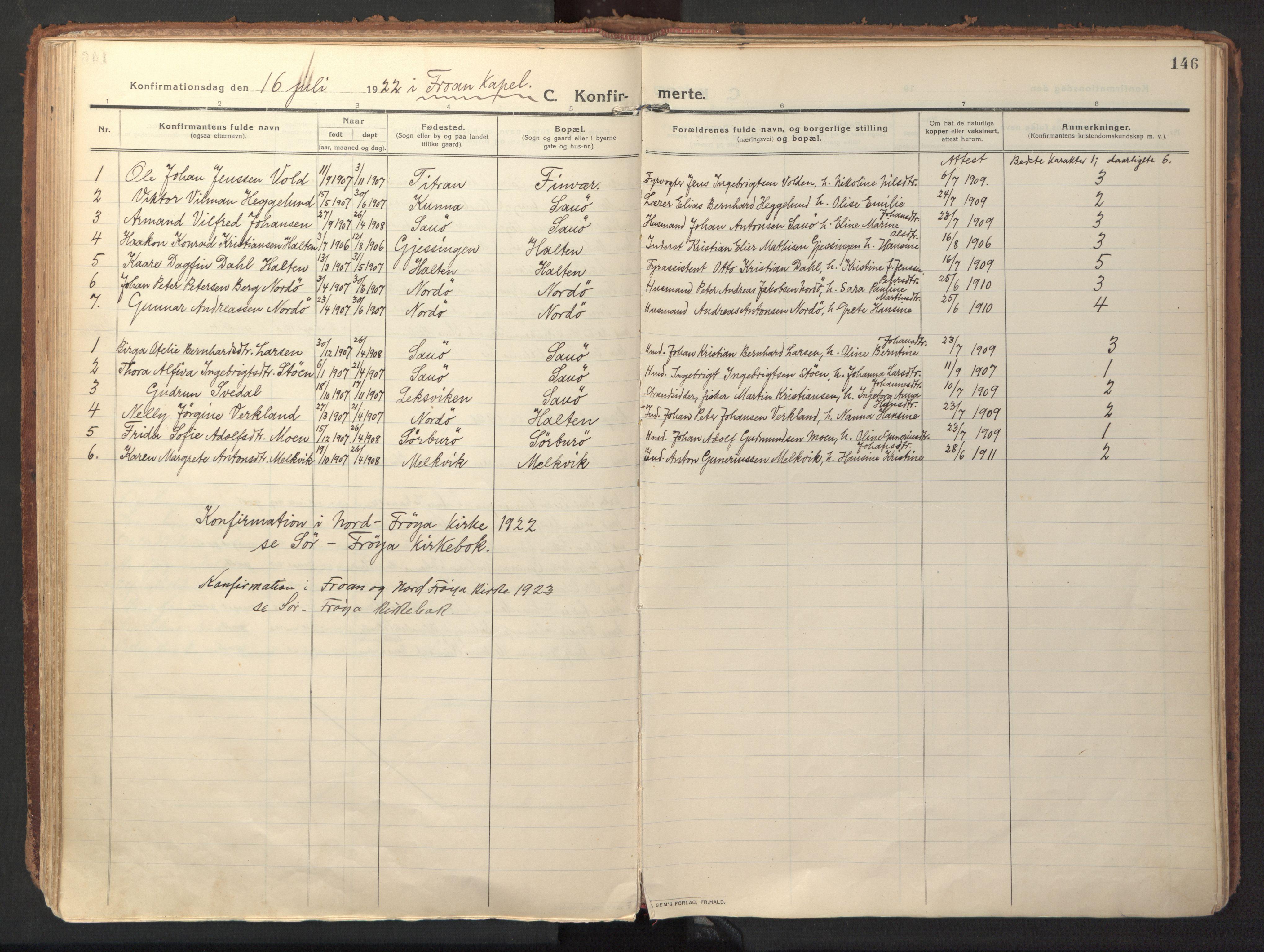 SAT, Ministerialprotokoller, klokkerbøker og fødselsregistre - Sør-Trøndelag, 640/L0581: Ministerialbok nr. 640A06, 1910-1924, s. 146
