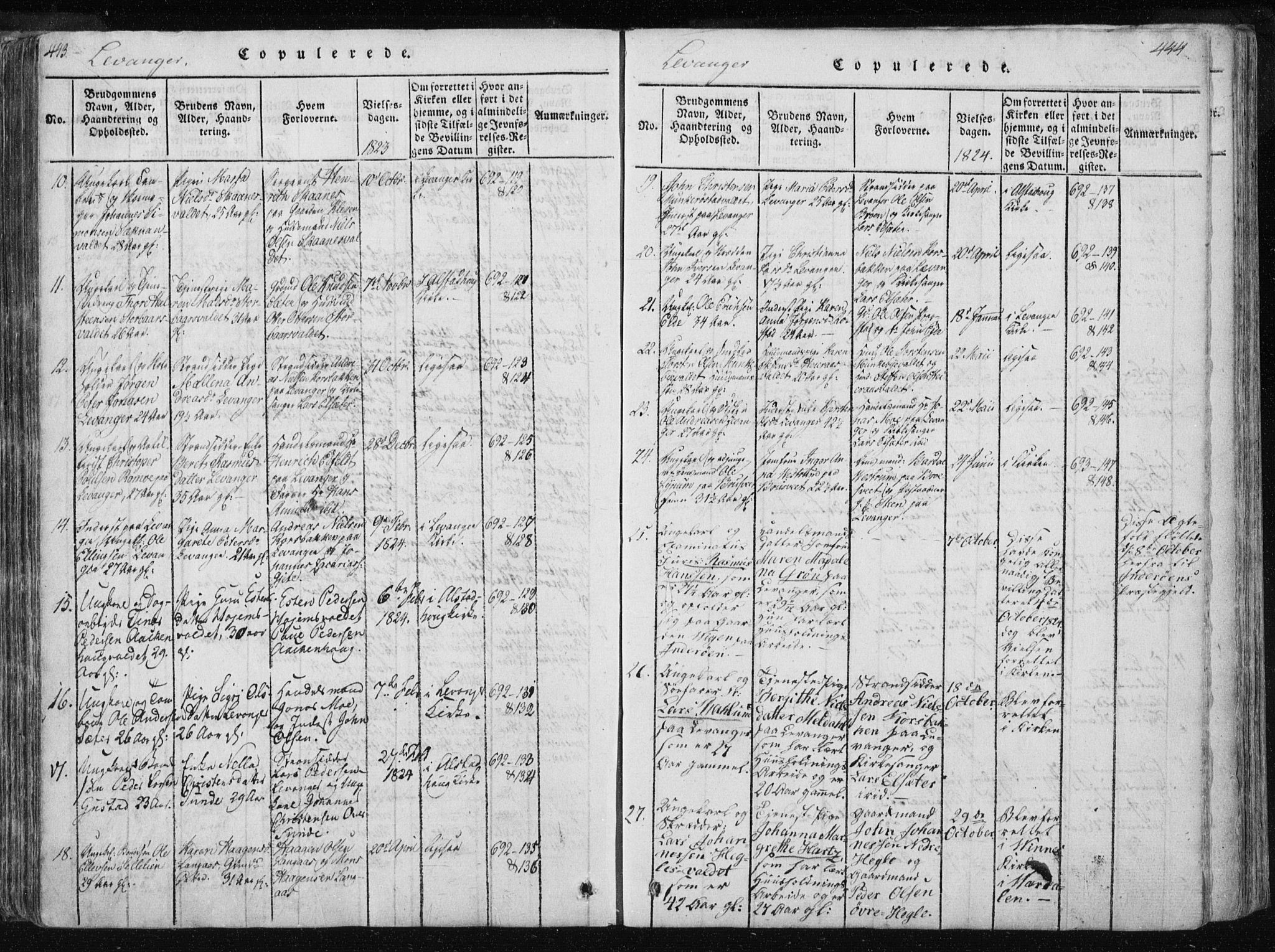 SAT, Ministerialprotokoller, klokkerbøker og fødselsregistre - Nord-Trøndelag, 717/L0148: Ministerialbok nr. 717A04 /2, 1816-1825, s. 443-444