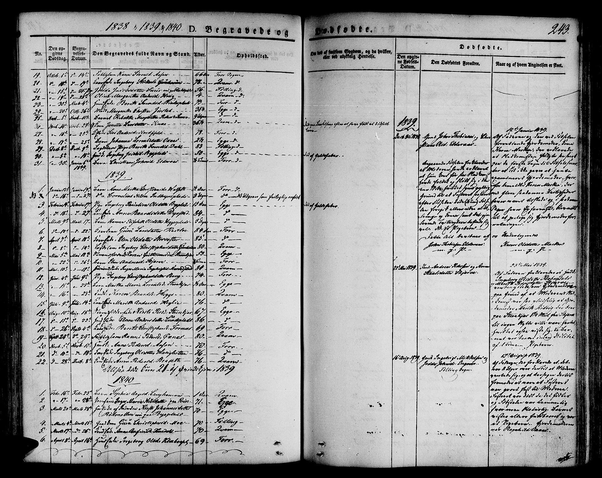 SAT, Ministerialprotokoller, klokkerbøker og fødselsregistre - Nord-Trøndelag, 746/L0445: Ministerialbok nr. 746A04, 1826-1846, s. 243