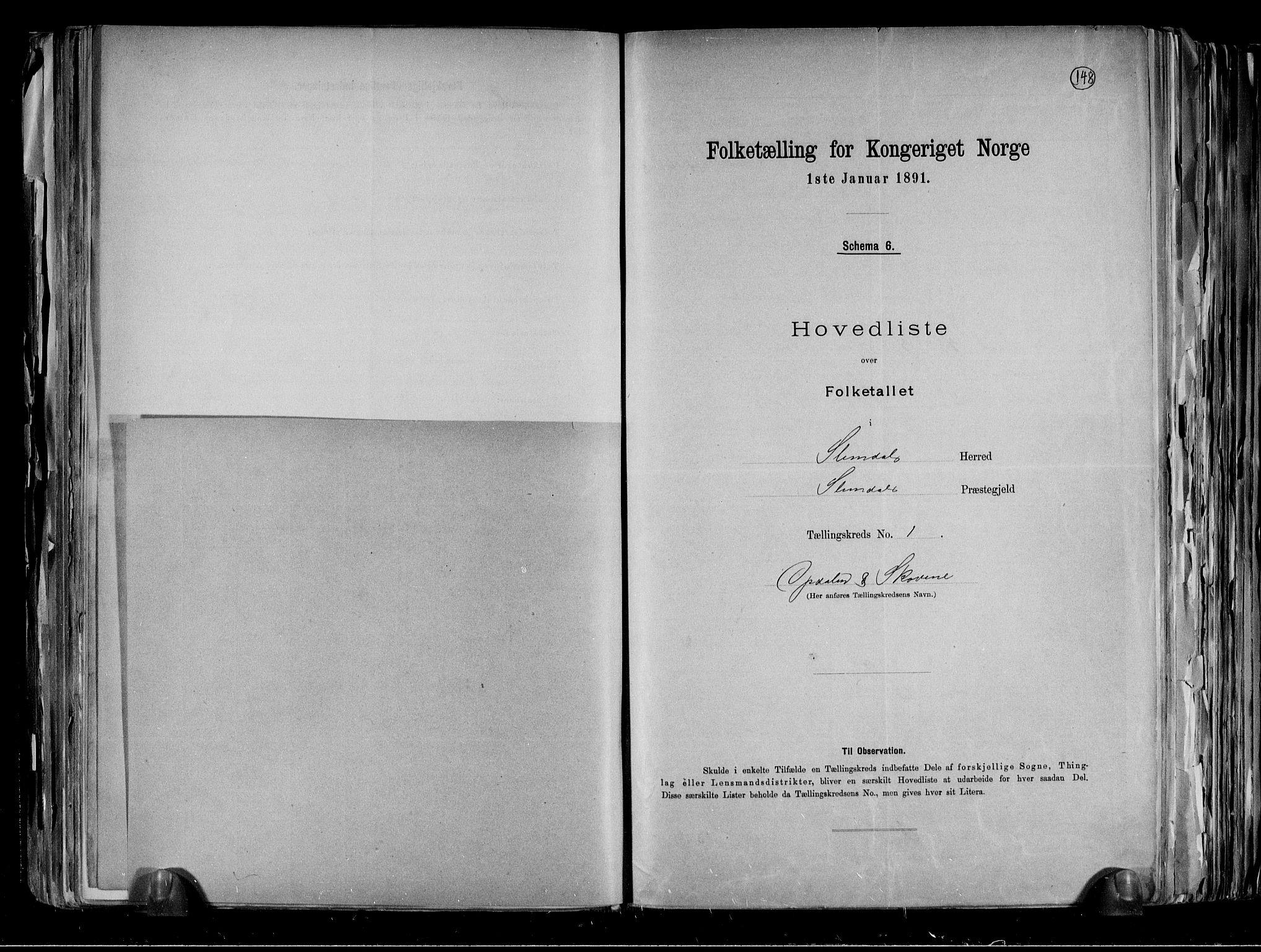 RA, Folketelling 1891 for 0811 Slemdal herred, 1891, s. 5