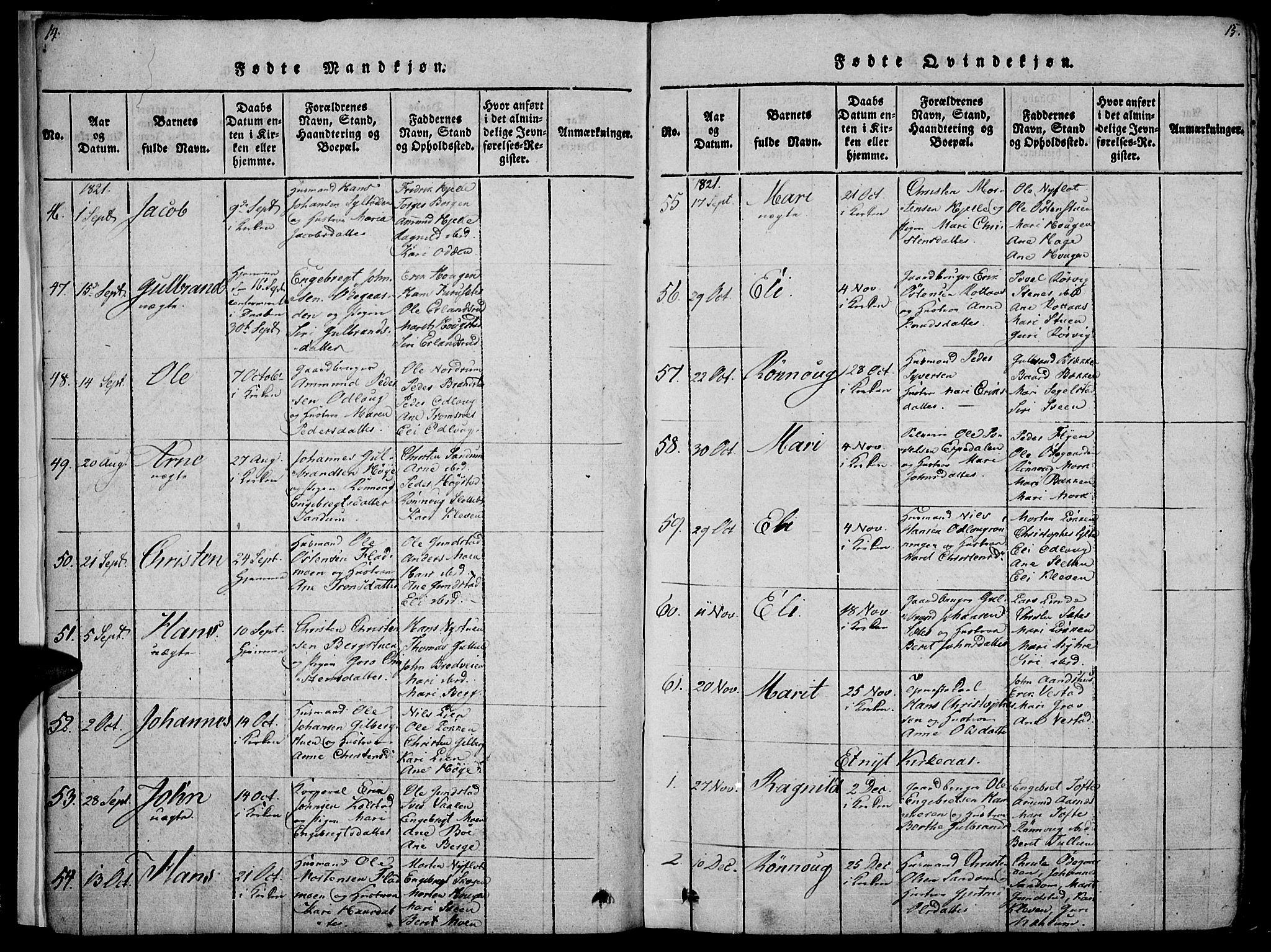 SAH, Ringebu prestekontor, Ministerialbok nr. 4, 1821-1839, s. 14-15