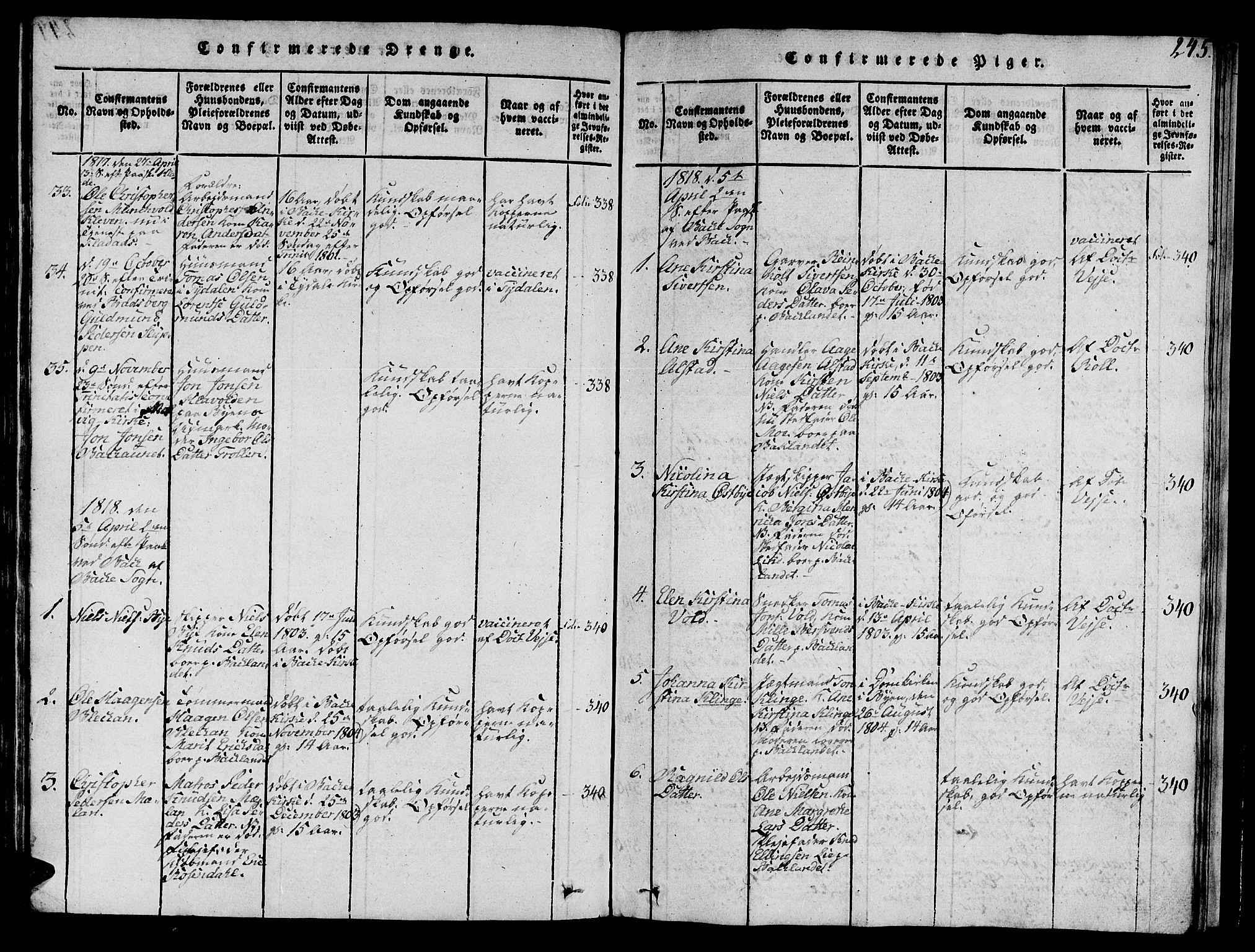 SAT, Ministerialprotokoller, klokkerbøker og fødselsregistre - Sør-Trøndelag, 606/L0307: Klokkerbok nr. 606C03, 1817-1824, s. 245