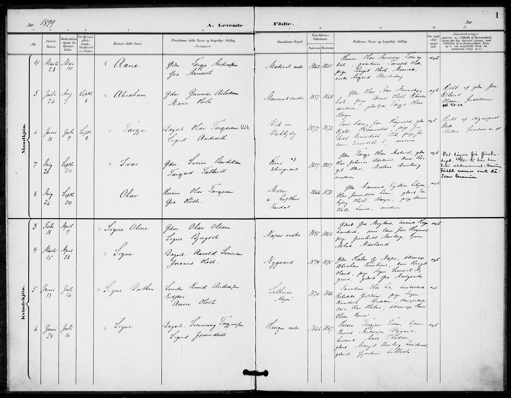 SAKO, Fyresdal kirkebøker, F/Fa/L0008: Ministerialbok nr. I 8, 1899-1914, s. 1