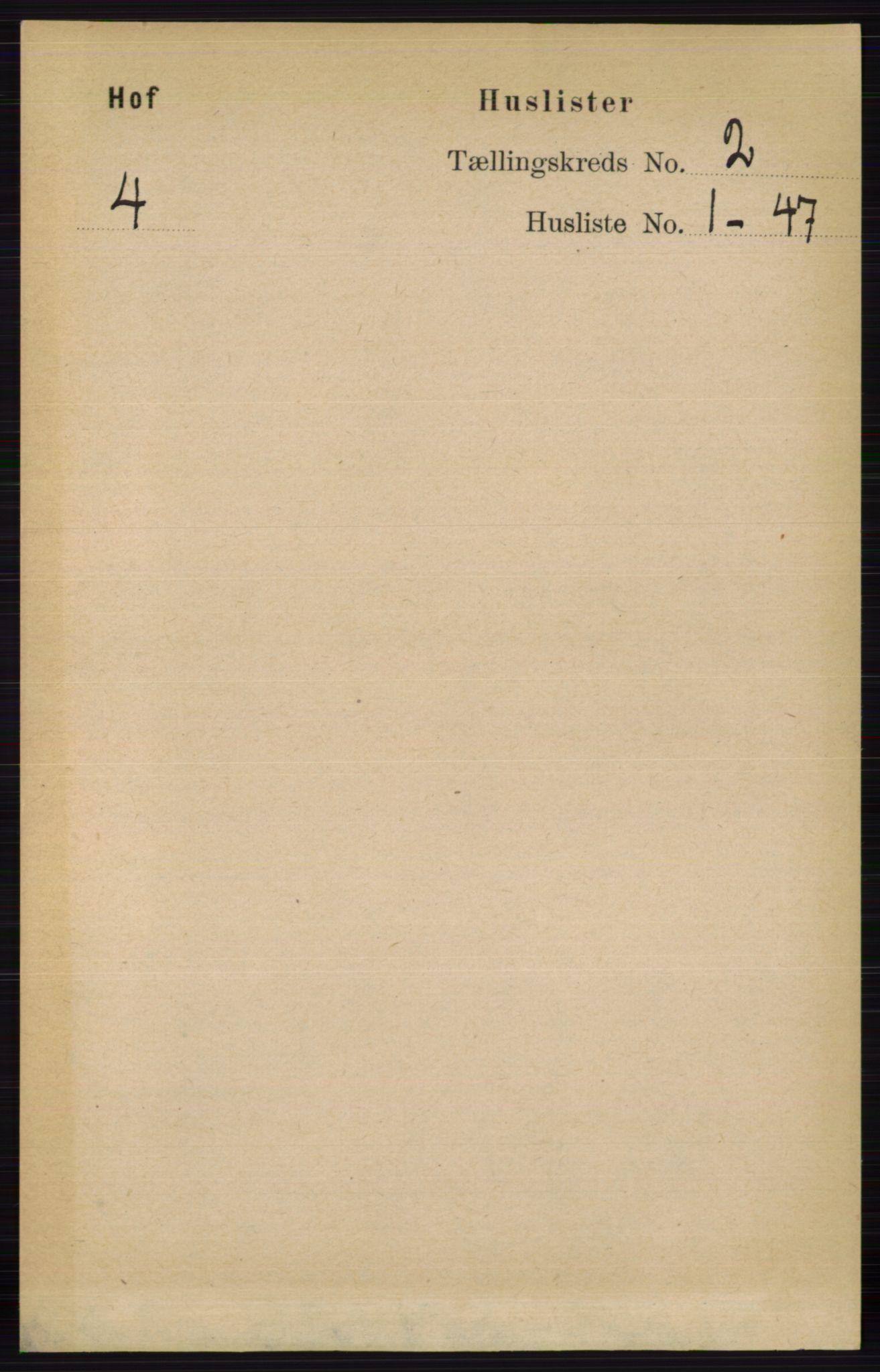 RA, Folketelling 1891 for 0424 Hof herred, 1891, s. 406