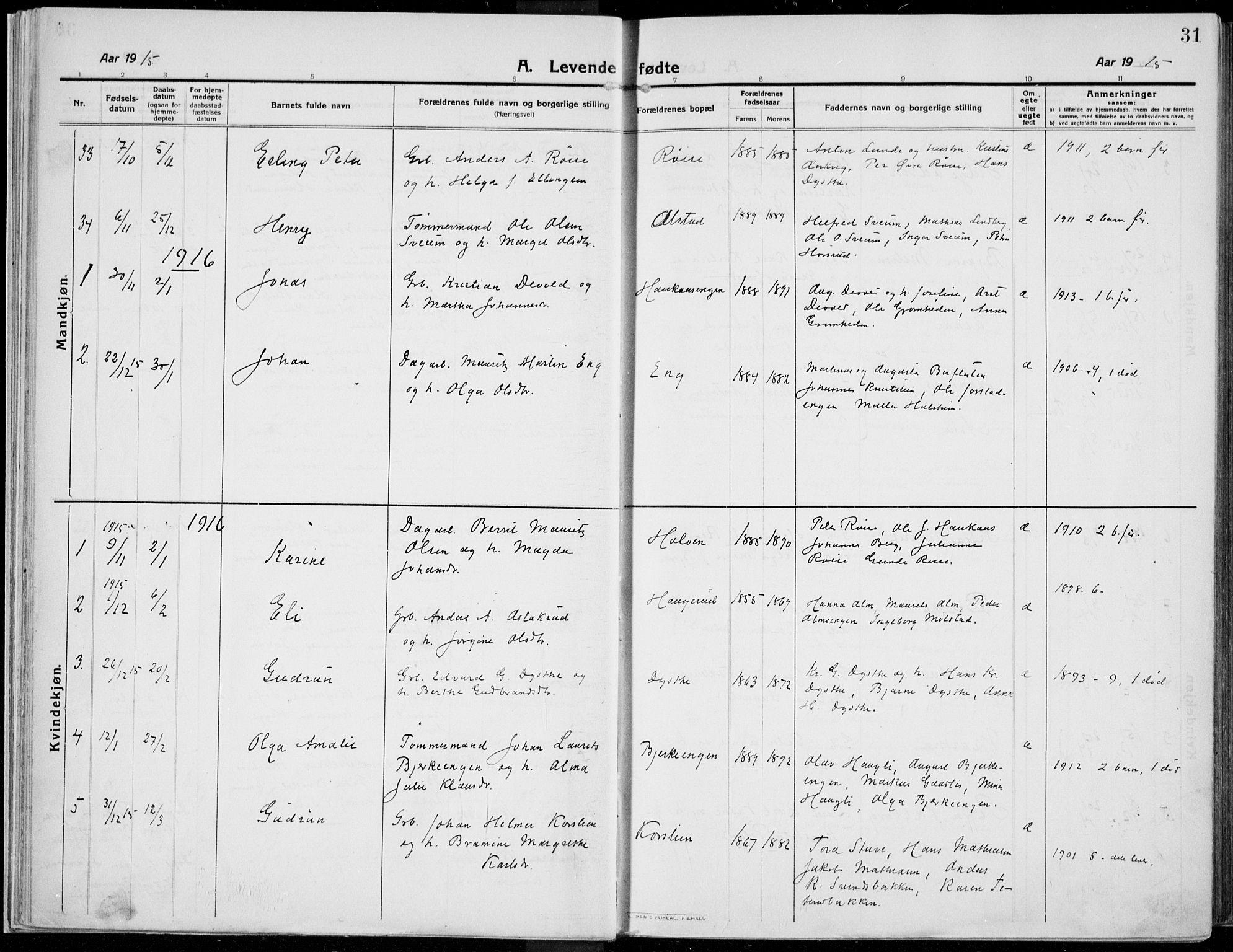 SAH, Kolbu prestekontor, Ministerialbok nr. 2, 1912-1926, s. 31