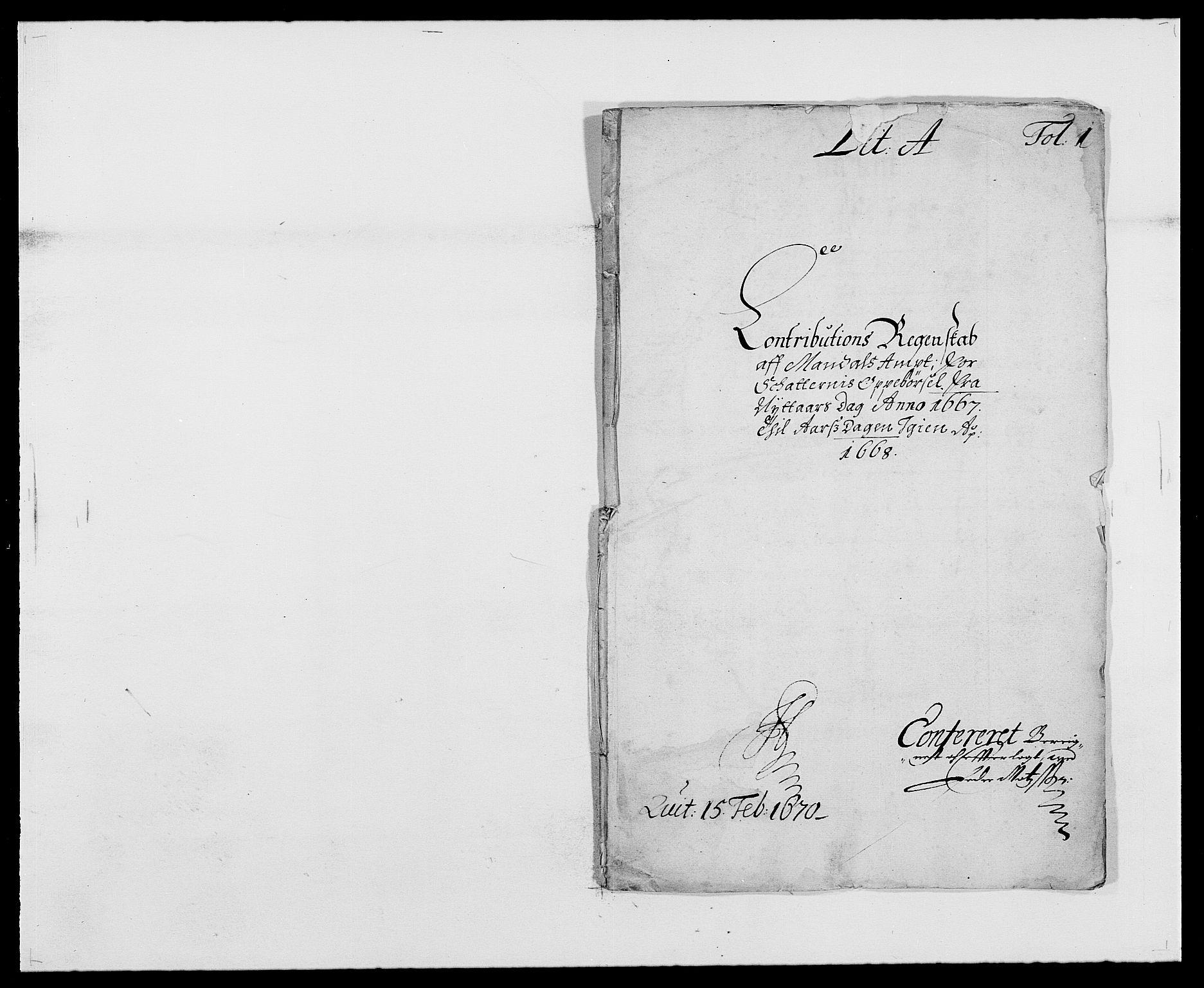 RA, Rentekammeret inntil 1814, Reviderte regnskaper, Fogderegnskap, R42/L2538: Mandal fogderi, 1667-1670, s. 1