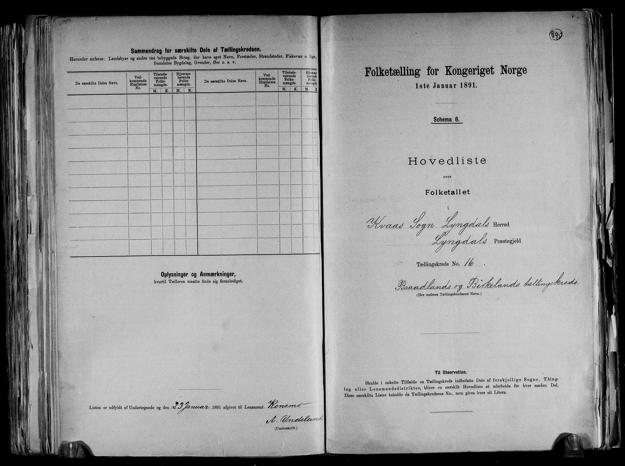 RA, Folketelling 1891 for 1032 Lyngdal herred, 1891, s. 37