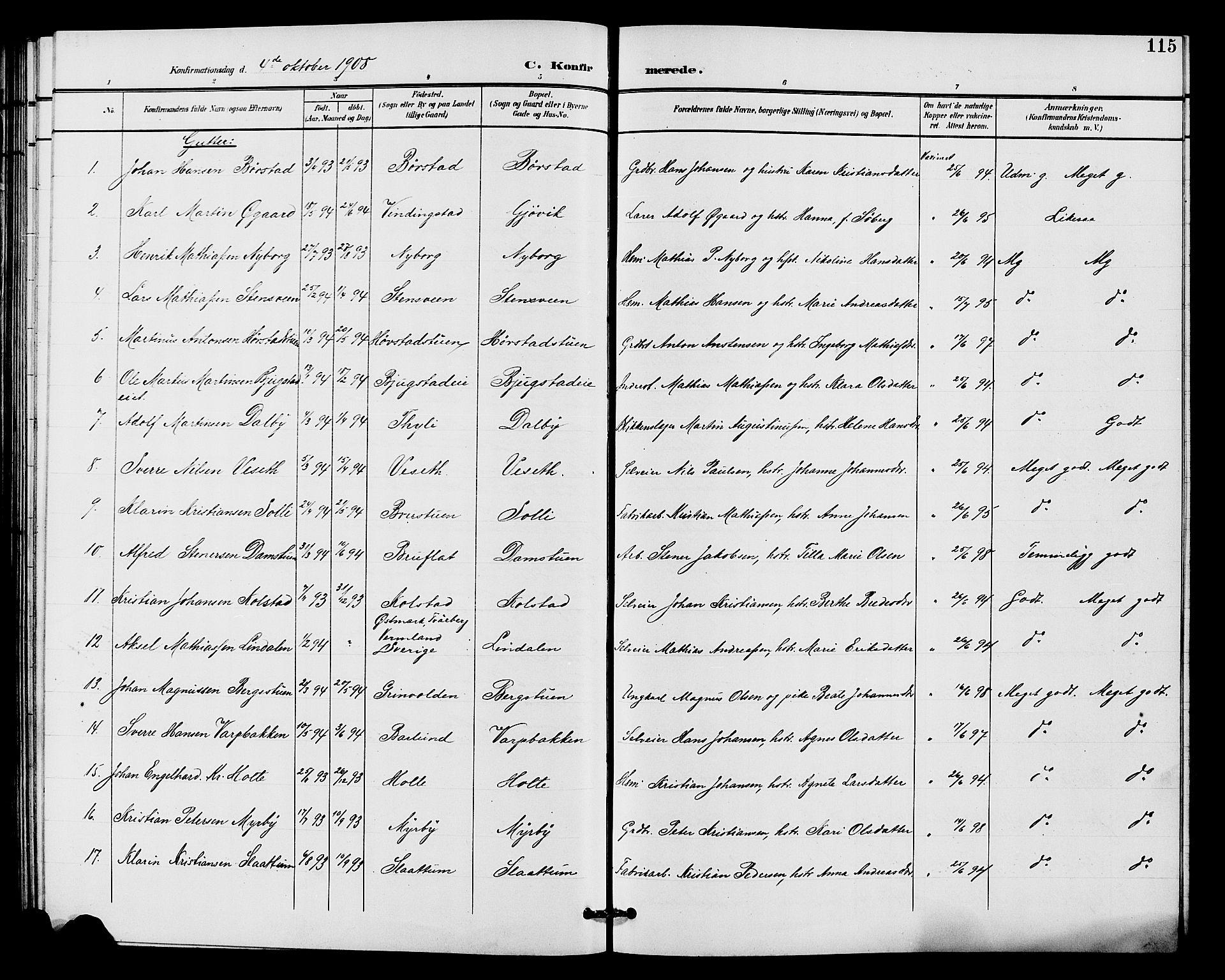 SAH, Vardal prestekontor, H/Ha/Hab/L0011: Klokkerbok nr. 11, 1899-1913, s. 115