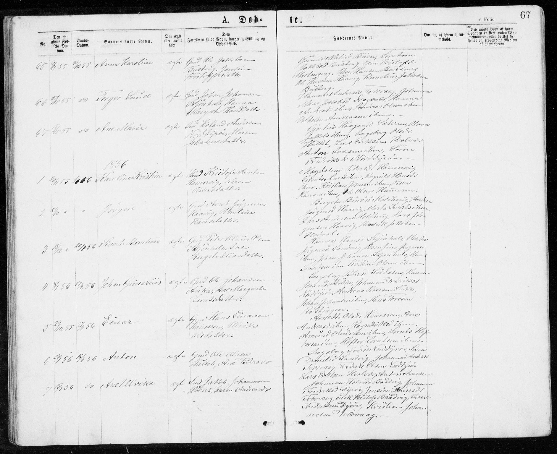 SAT, Ministerialprotokoller, klokkerbøker og fødselsregistre - Sør-Trøndelag, 640/L0576: Ministerialbok nr. 640A01, 1846-1876, s. 67