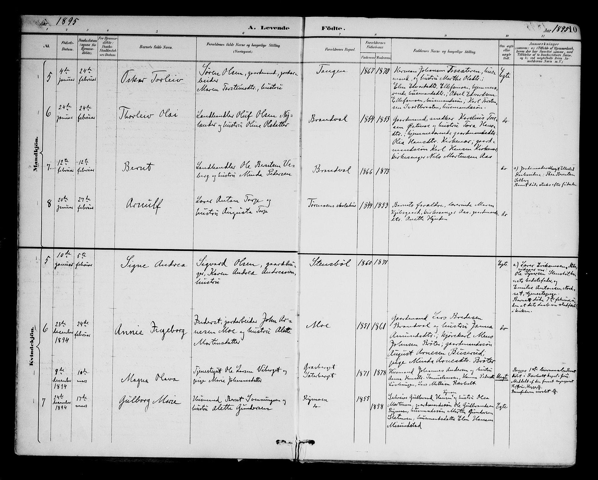 SAH, Brandval prestekontor, H/Ha/Haa/L0003: Ministerialbok nr. 3, 1894-1909, s. 10
