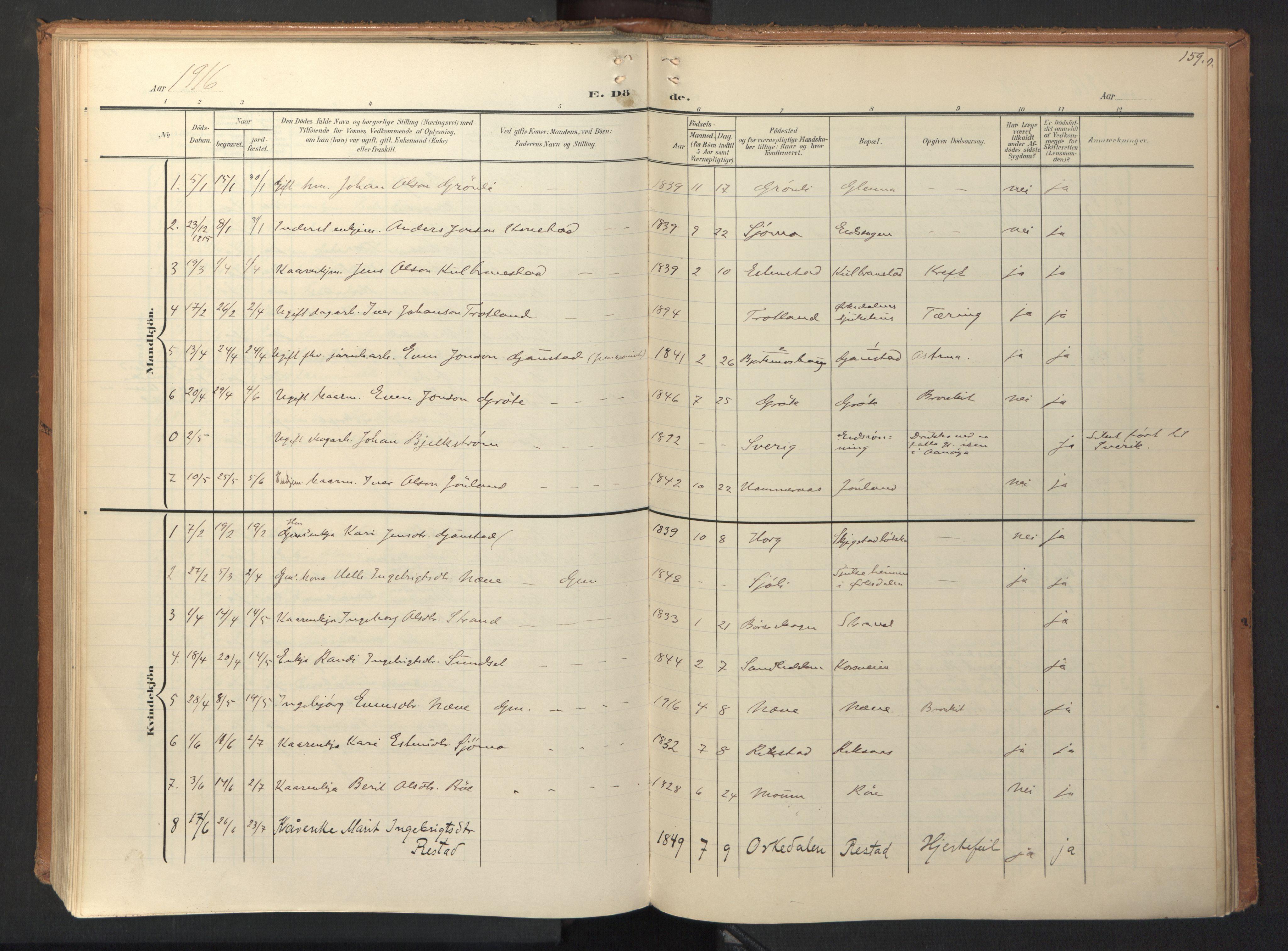 SAT, Ministerialprotokoller, klokkerbøker og fødselsregistre - Sør-Trøndelag, 694/L1128: Ministerialbok nr. 694A02, 1906-1931, s. 159
