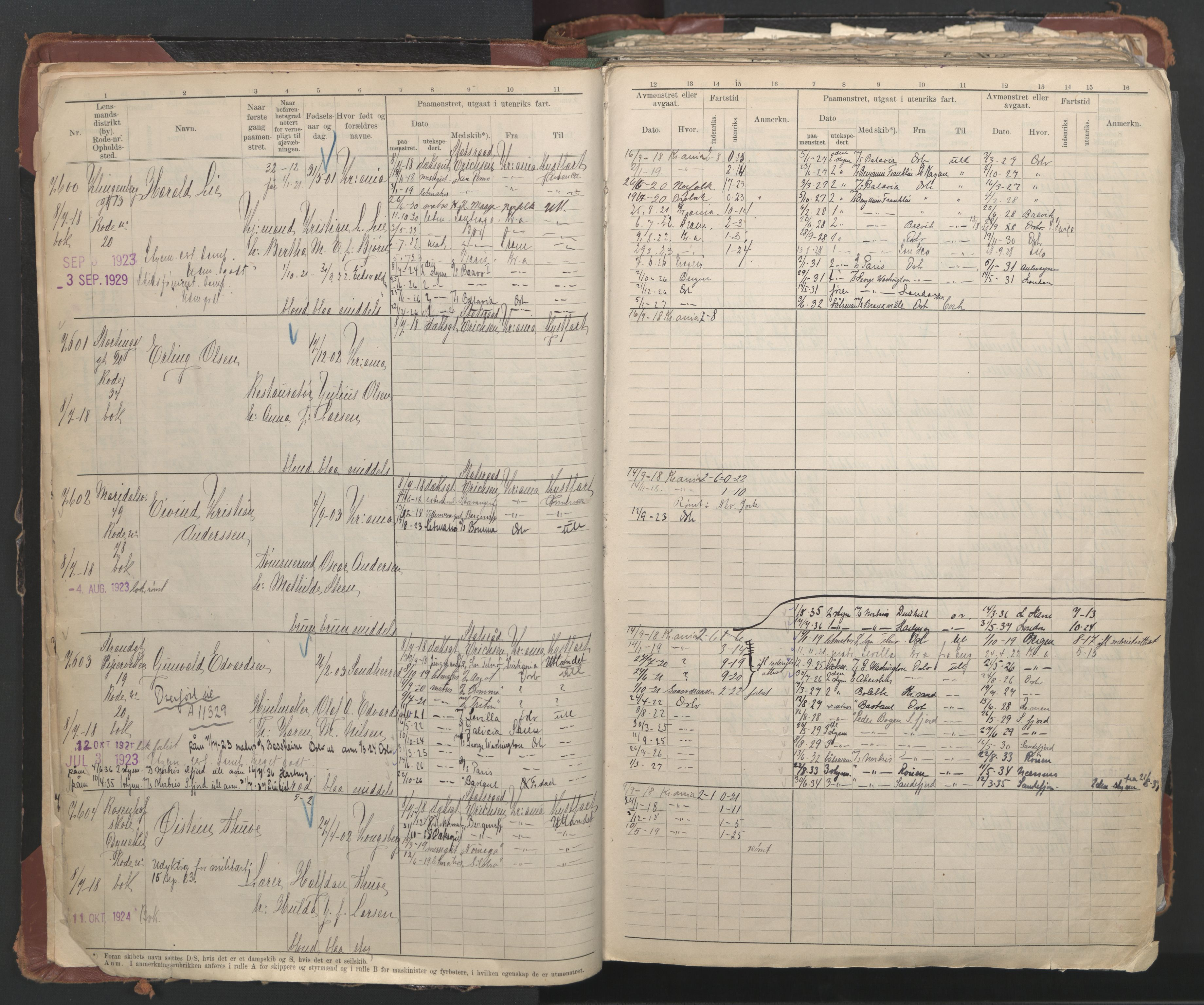 SAO, Oslo sjømannskontor, F/Fc/L0006: Hovedrulle, 1918-1930, s. 7