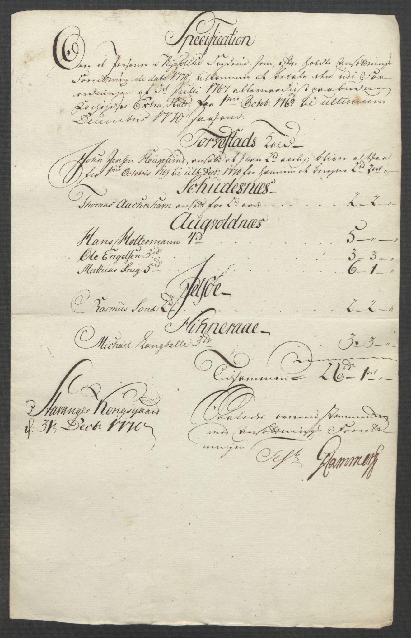 RA, Rentekammeret inntil 1814, Reviderte regnskaper, Fogderegnskap, R47/L2972: Ekstraskatten Ryfylke, 1762-1780, s. 254
