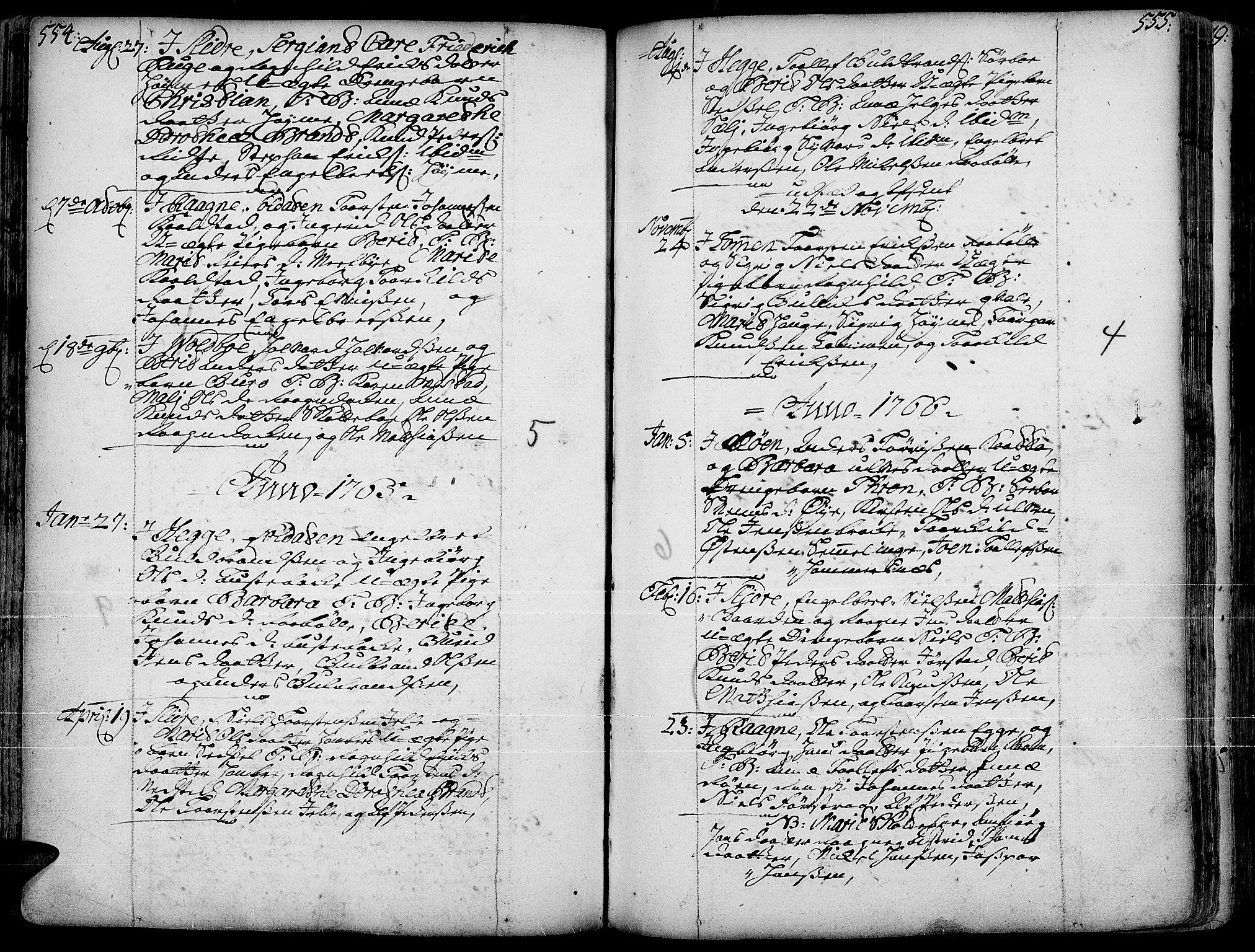 SAH, Slidre prestekontor, Ministerialbok nr. 1, 1724-1814, s. 554-555