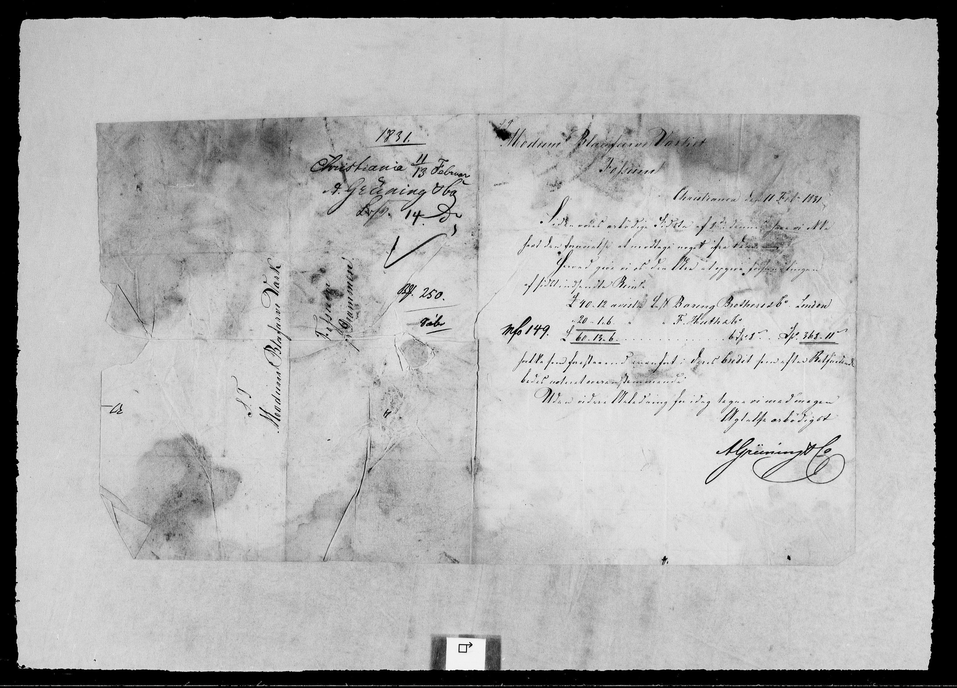 RA, Modums Blaafarveværk, G/Gb/L0105, 1830-1831, s. 2
