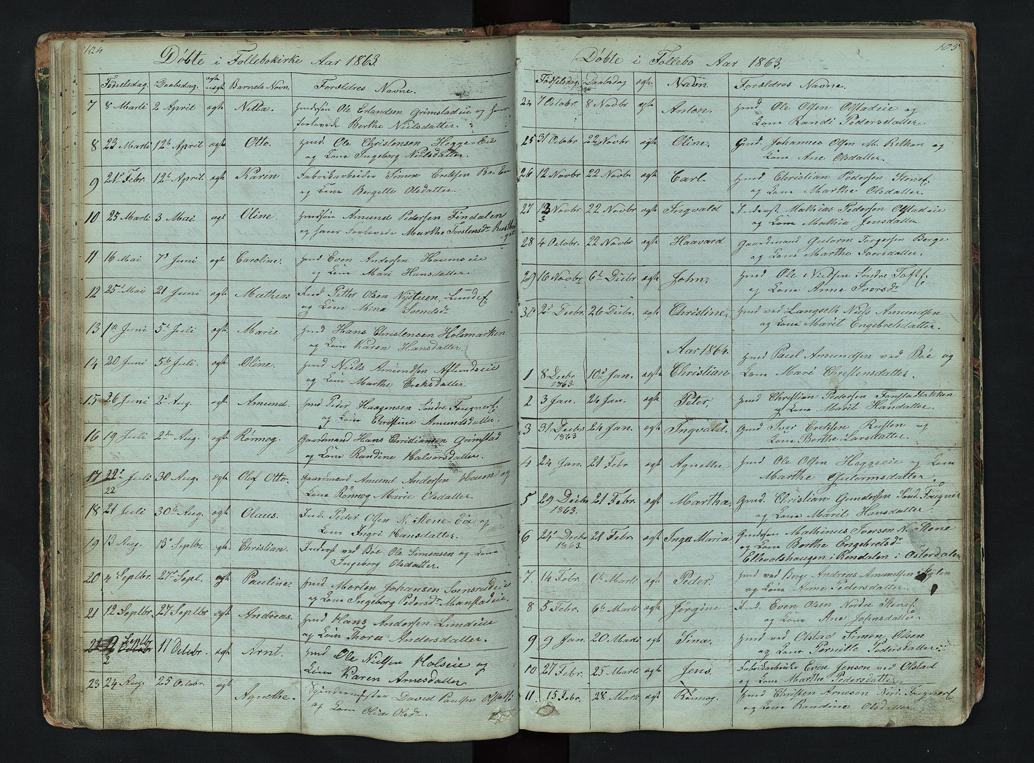 SAH, Gausdal prestekontor, Klokkerbok nr. 6, 1846-1893, s. 104-105