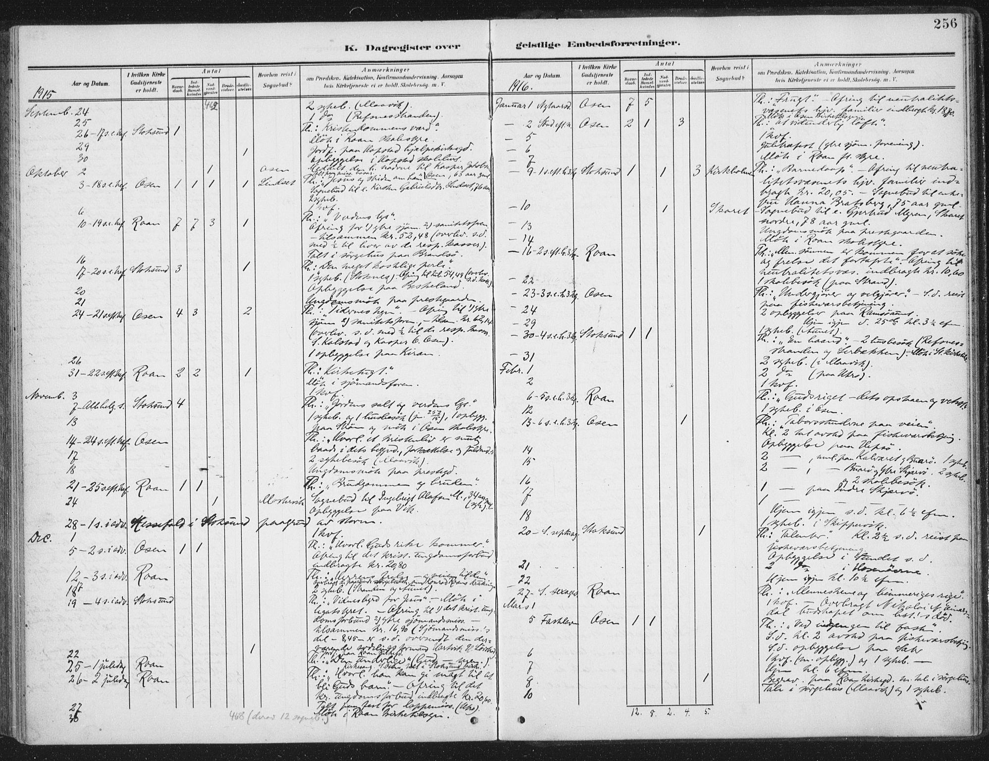 SAT, Ministerialprotokoller, klokkerbøker og fødselsregistre - Sør-Trøndelag, 657/L0709: Ministerialbok nr. 657A10, 1905-1919, s. 256