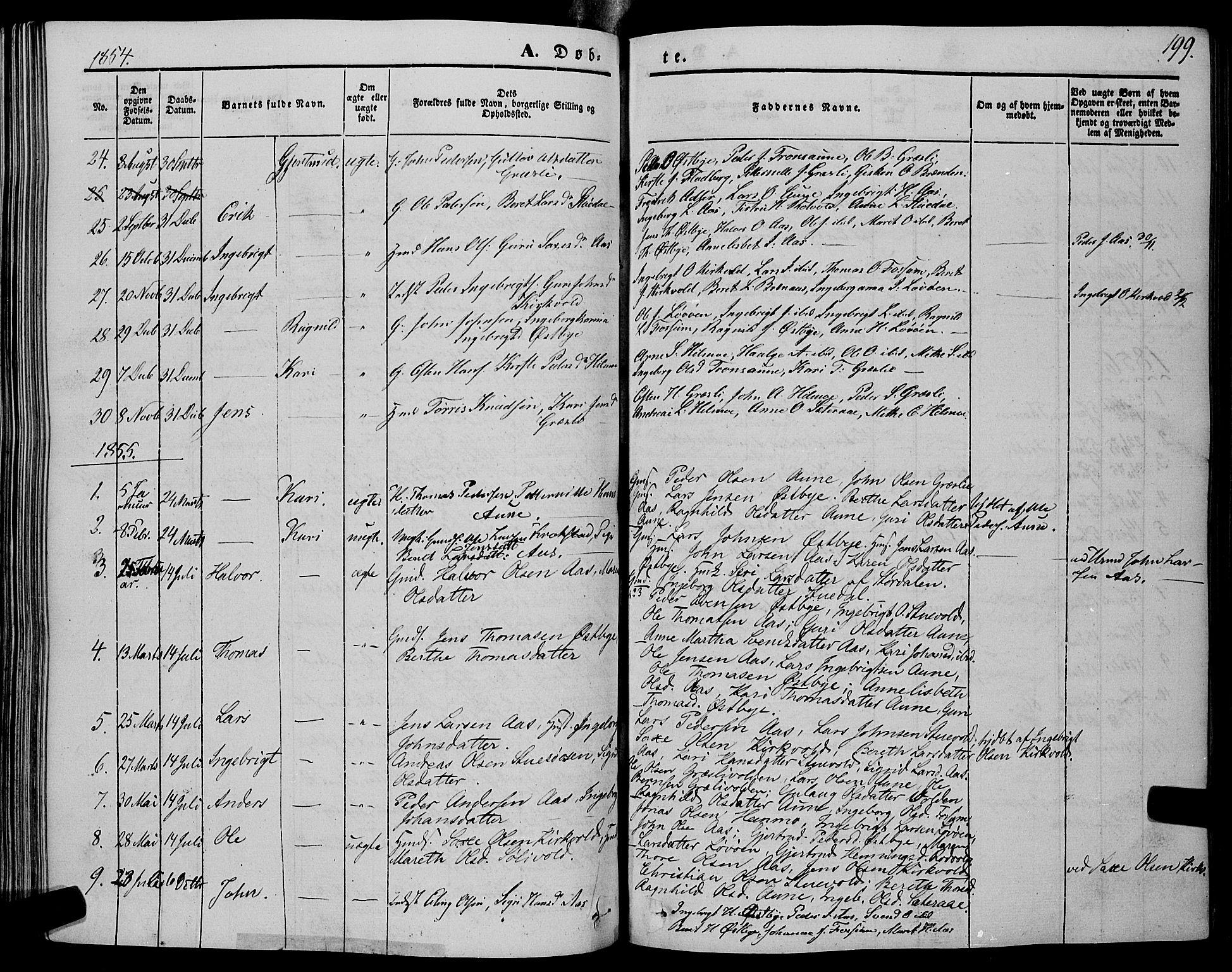 SAT, Ministerialprotokoller, klokkerbøker og fødselsregistre - Sør-Trøndelag, 695/L1146: Ministerialbok nr. 695A06 /2, 1843-1859, s. 199