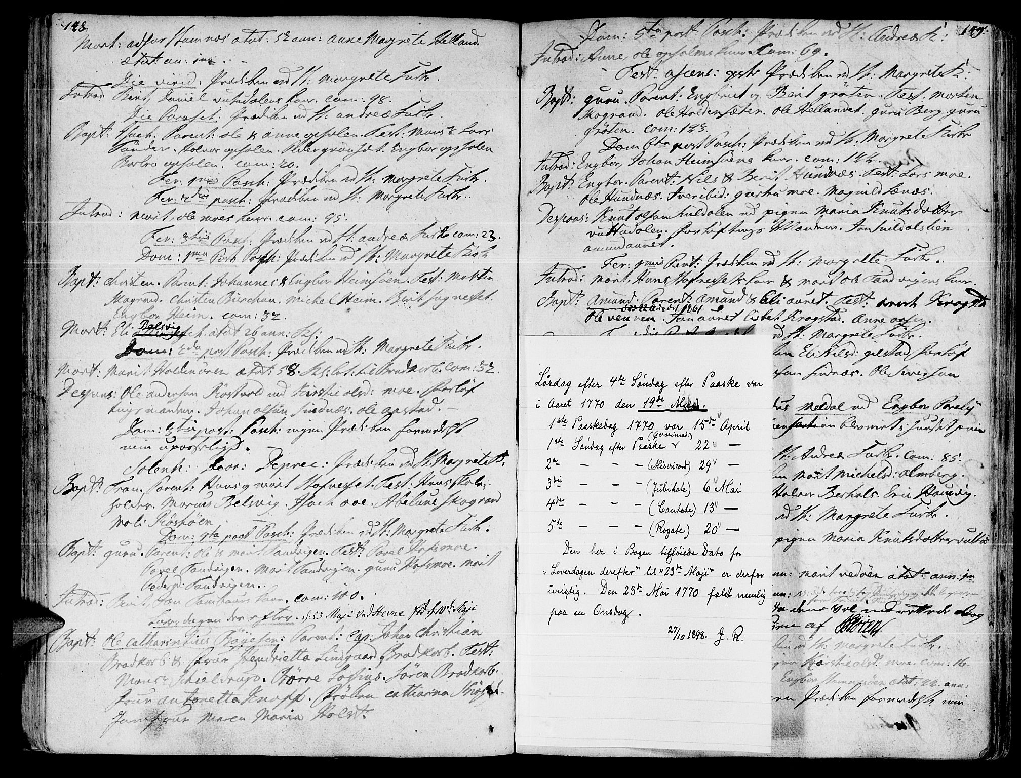 SAT, Ministerialprotokoller, klokkerbøker og fødselsregistre - Sør-Trøndelag, 630/L0489: Ministerialbok nr. 630A02, 1757-1794, s. 148-149