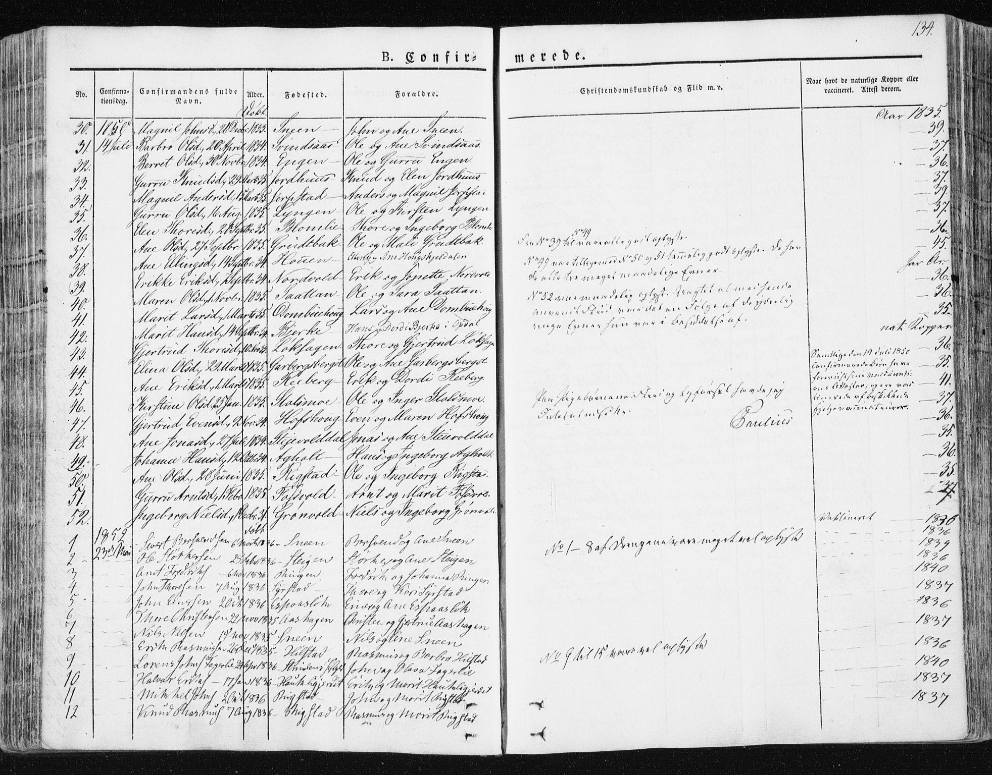 SAT, Ministerialprotokoller, klokkerbøker og fødselsregistre - Sør-Trøndelag, 672/L0855: Ministerialbok nr. 672A07, 1829-1860, s. 134