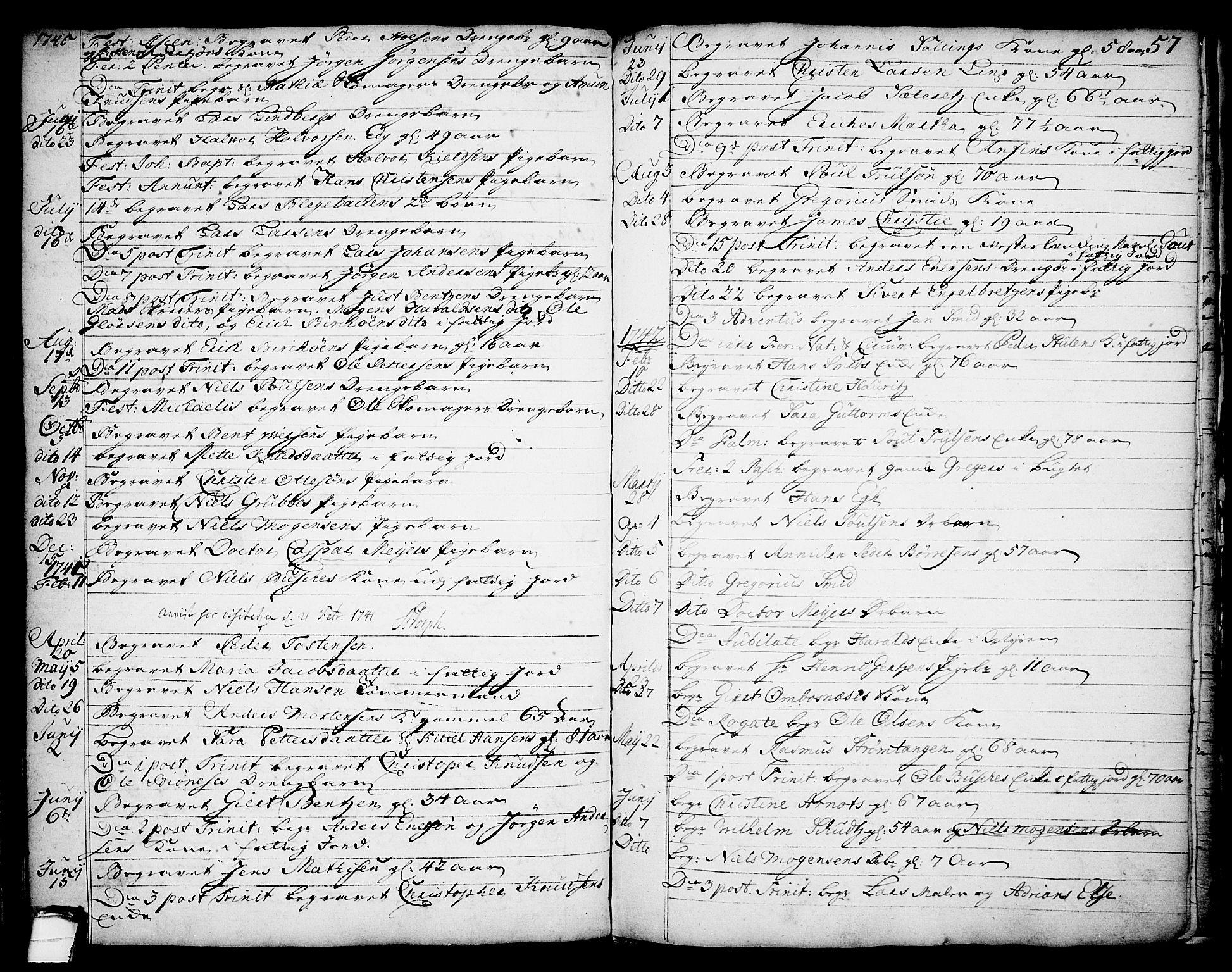 SAKO, Brevik kirkebøker, F/Fa/L0002: Ministerialbok nr. 2, 1720-1764, s. 57