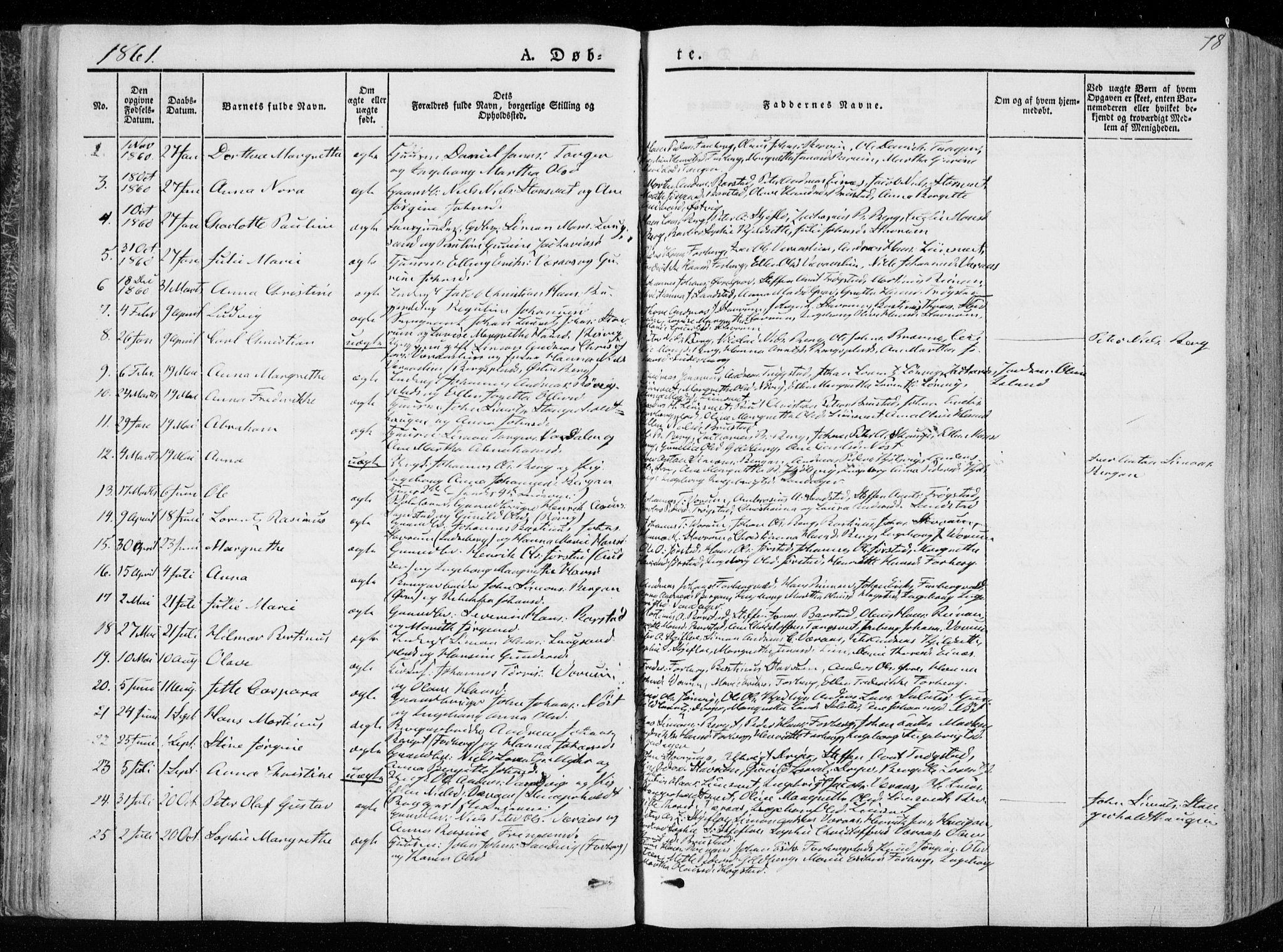 SAT, Ministerialprotokoller, klokkerbøker og fødselsregistre - Nord-Trøndelag, 722/L0218: Ministerialbok nr. 722A05, 1843-1868, s. 78