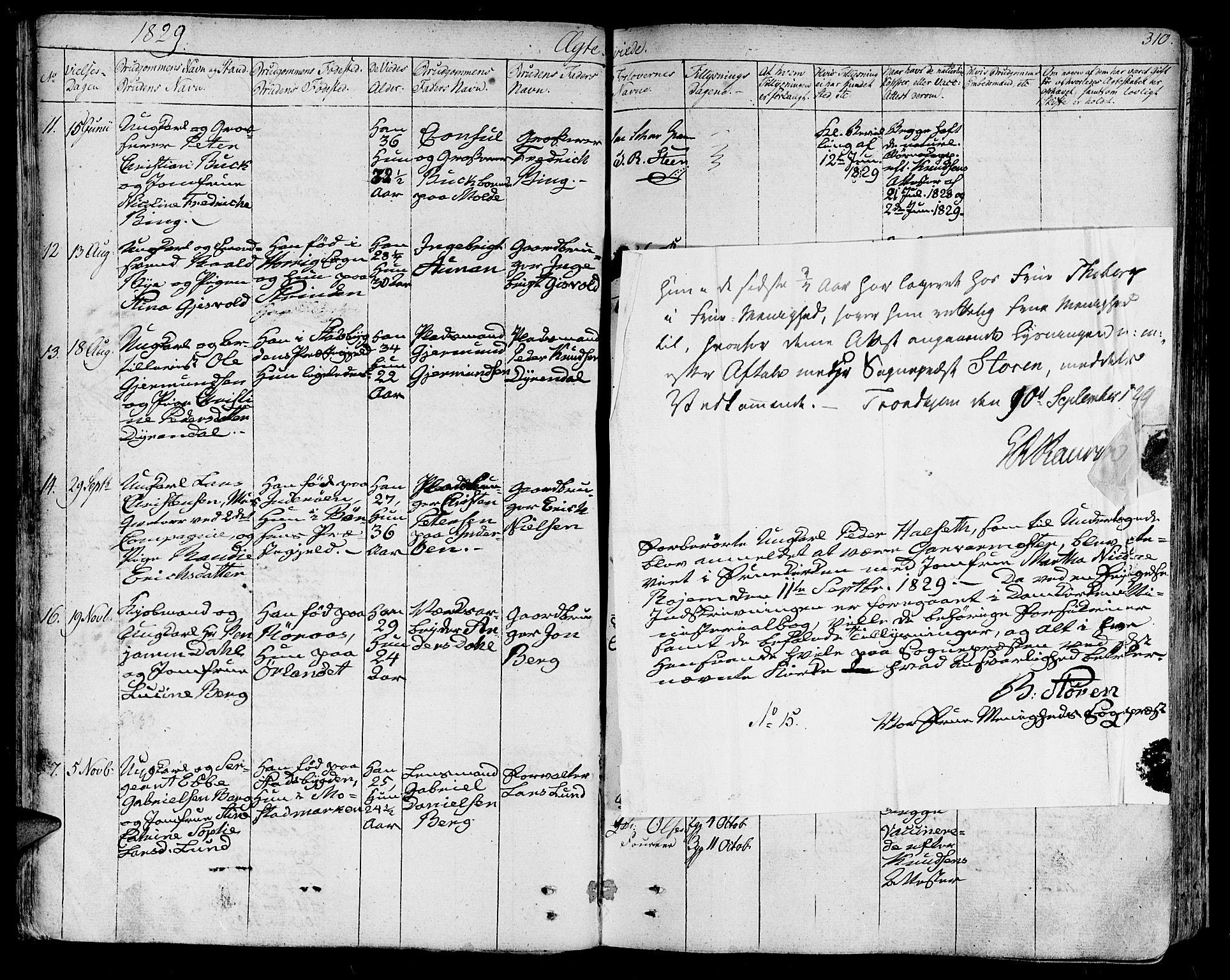 SAT, Ministerialprotokoller, klokkerbøker og fødselsregistre - Sør-Trøndelag, 602/L0109: Ministerialbok nr. 602A07, 1821-1840, s. 310