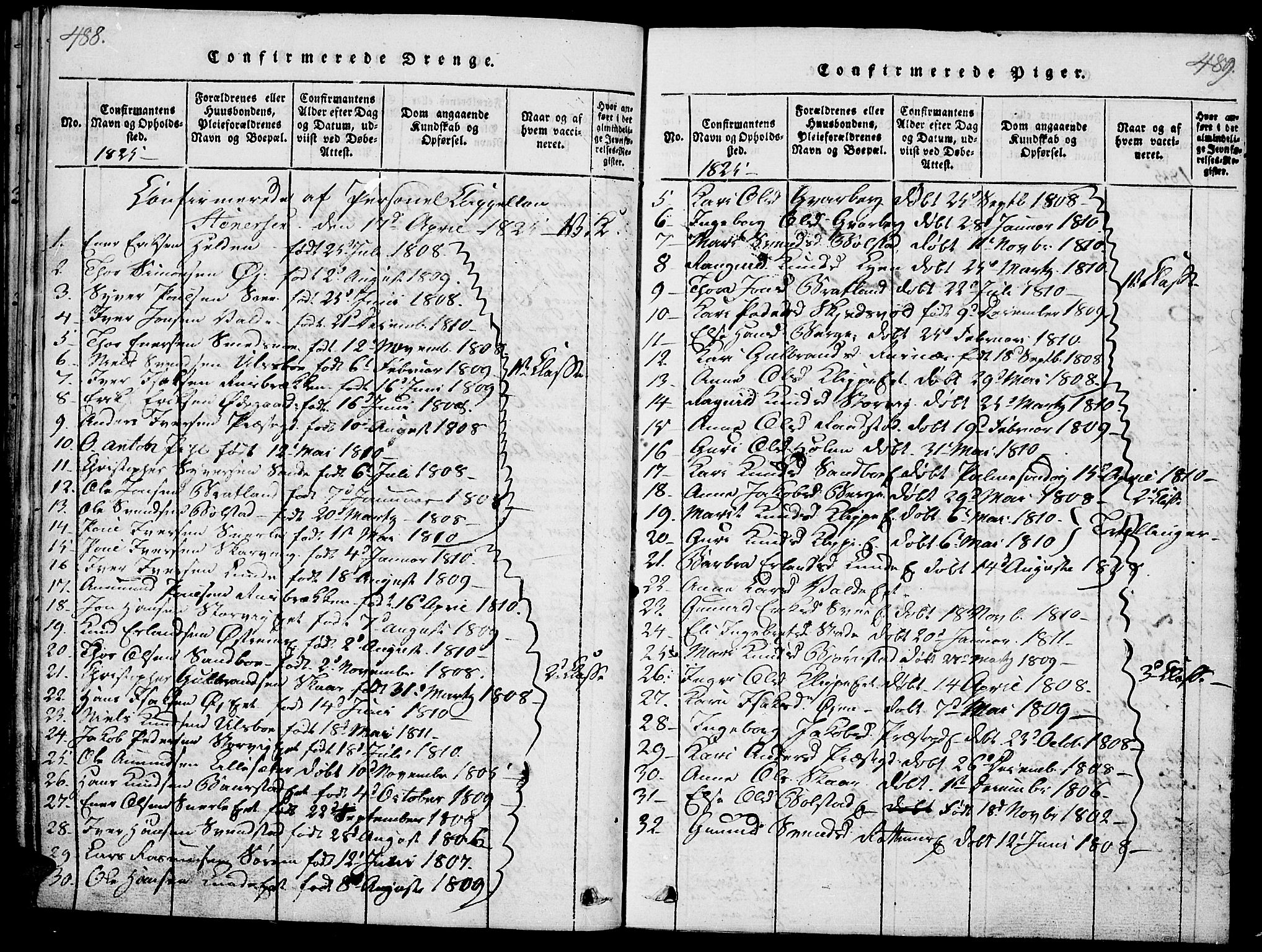 SAH, Vågå prestekontor, Ministerialbok nr. 3, 1815-1827, s. 488-489