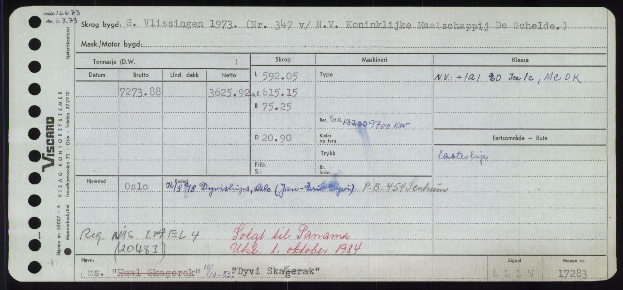 RA, Sjøfartsdirektoratet med forløpere, Skipsmålingen, H/Hd/L0008: Fartøy, C-D, s. 749