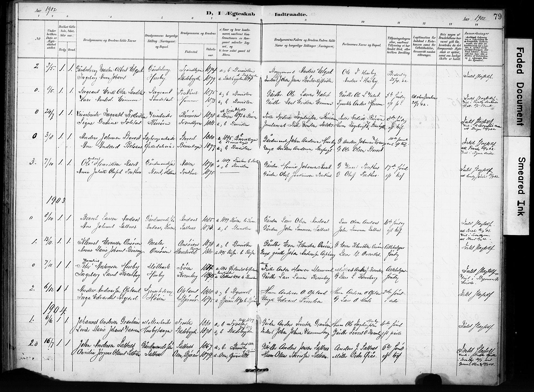 SAT, Ministerialprotokoller, klokkerbøker og fødselsregistre - Sør-Trøndelag, 666/L0787: Ministerialbok nr. 666A05, 1895-1908, s. 79