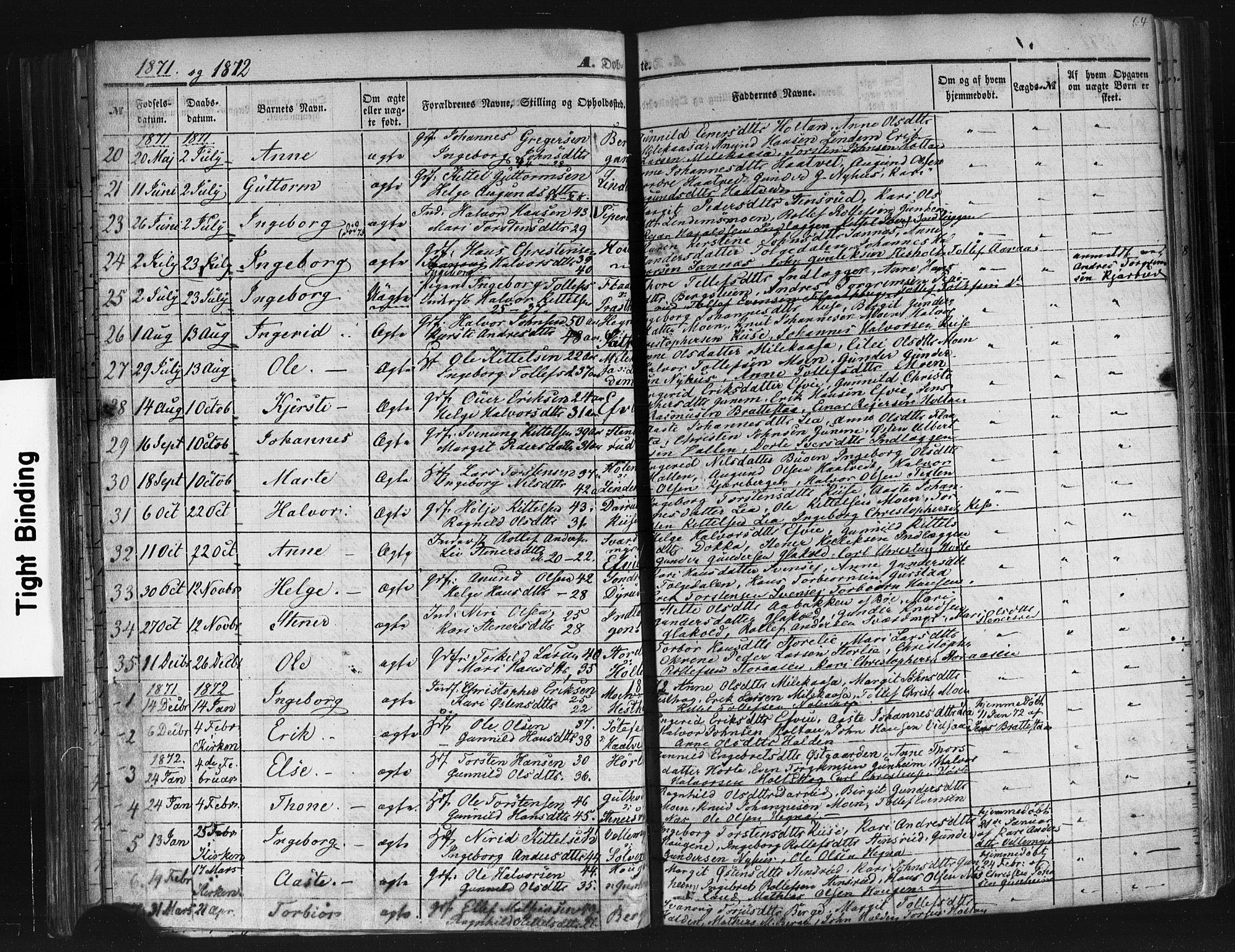 SAKO, Sauherad kirkebøker, F/Fb/L0001: Ministerialbok nr. II 1, 1851-1877, s. 64
