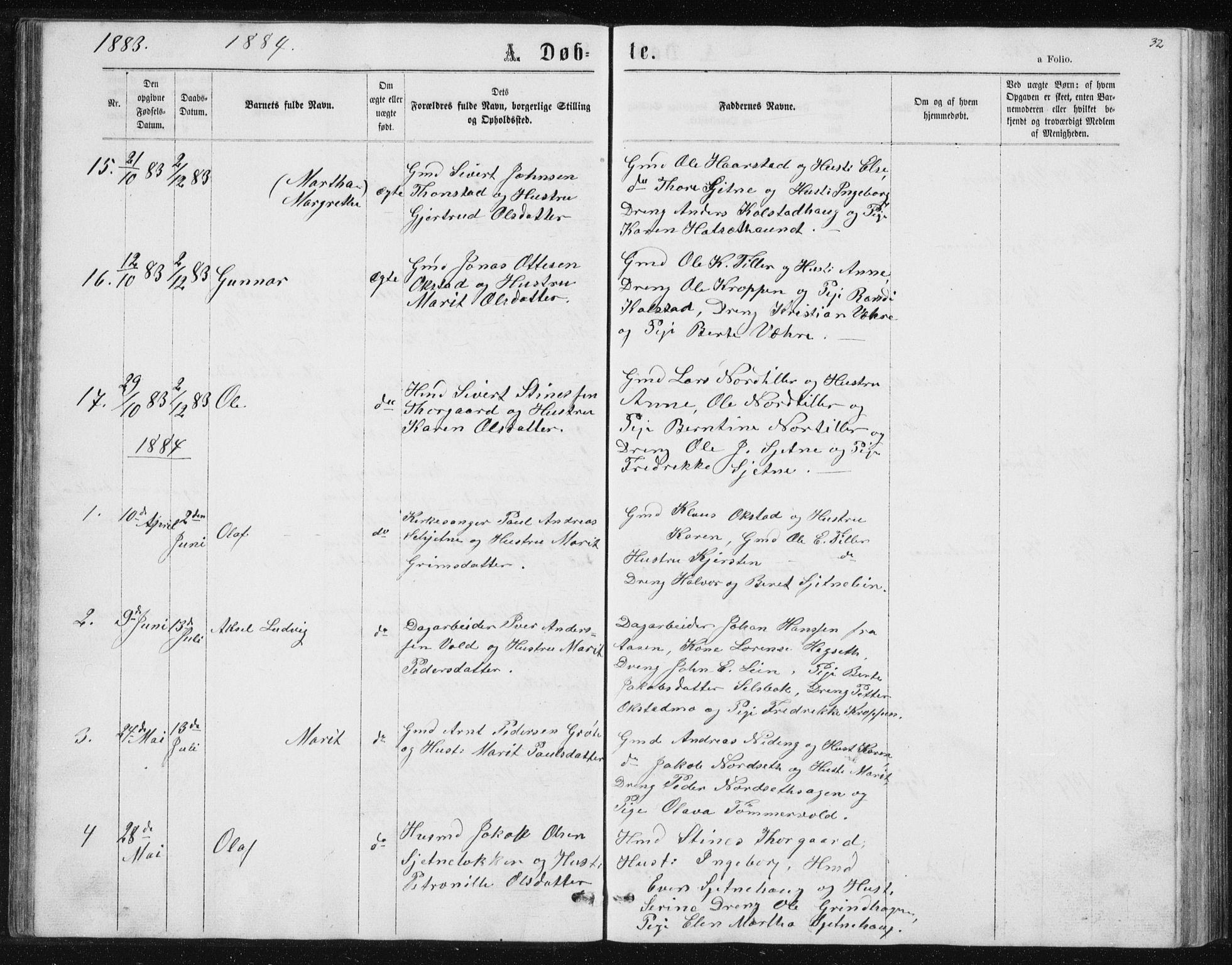 SAT, Ministerialprotokoller, klokkerbøker og fødselsregistre - Sør-Trøndelag, 621/L0459: Klokkerbok nr. 621C02, 1866-1895, s. 32