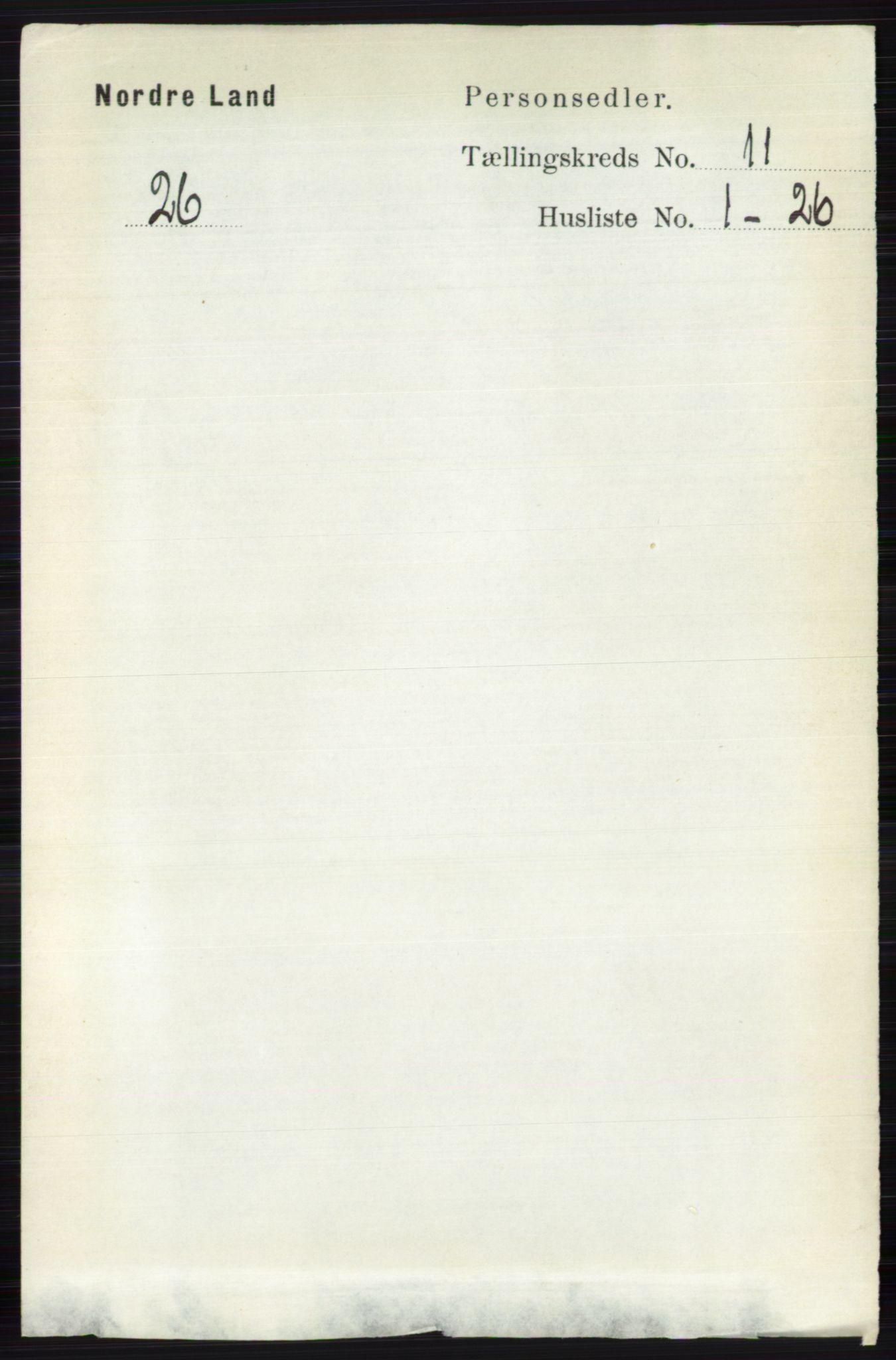 RA, Folketelling 1891 for 0538 Nordre Land herred, 1891, s. 3029