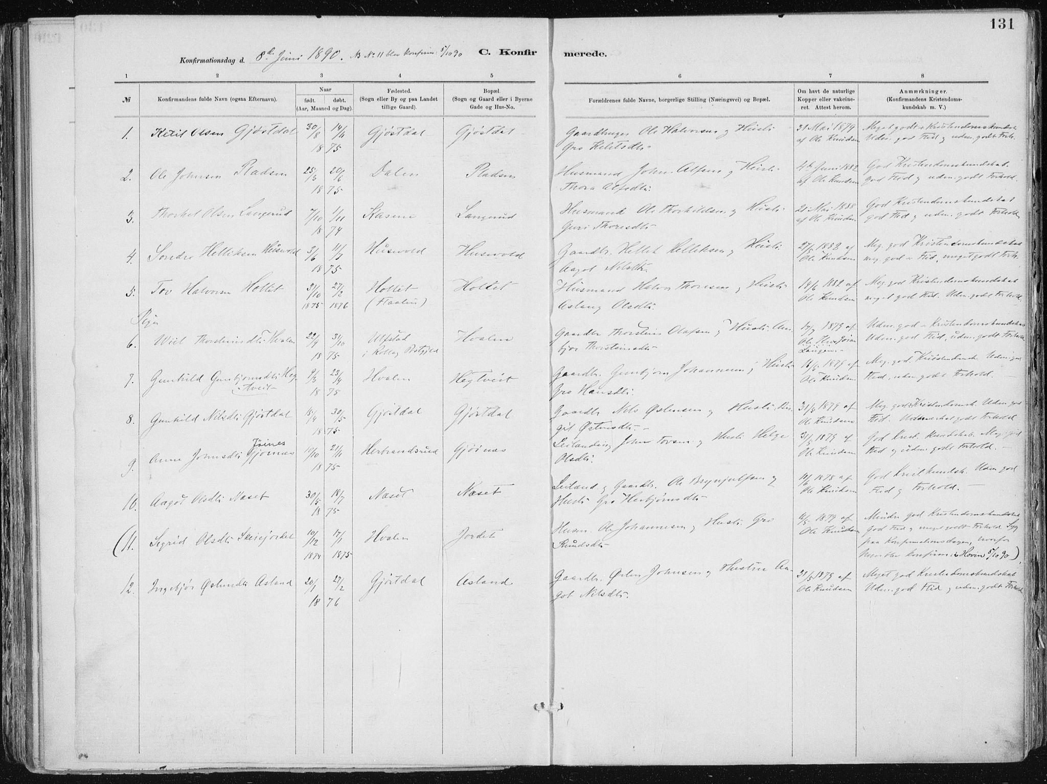 SAKO, Tinn kirkebøker, F/Fa/L0007: Ministerialbok nr. I 7, 1878-1922, s. 131